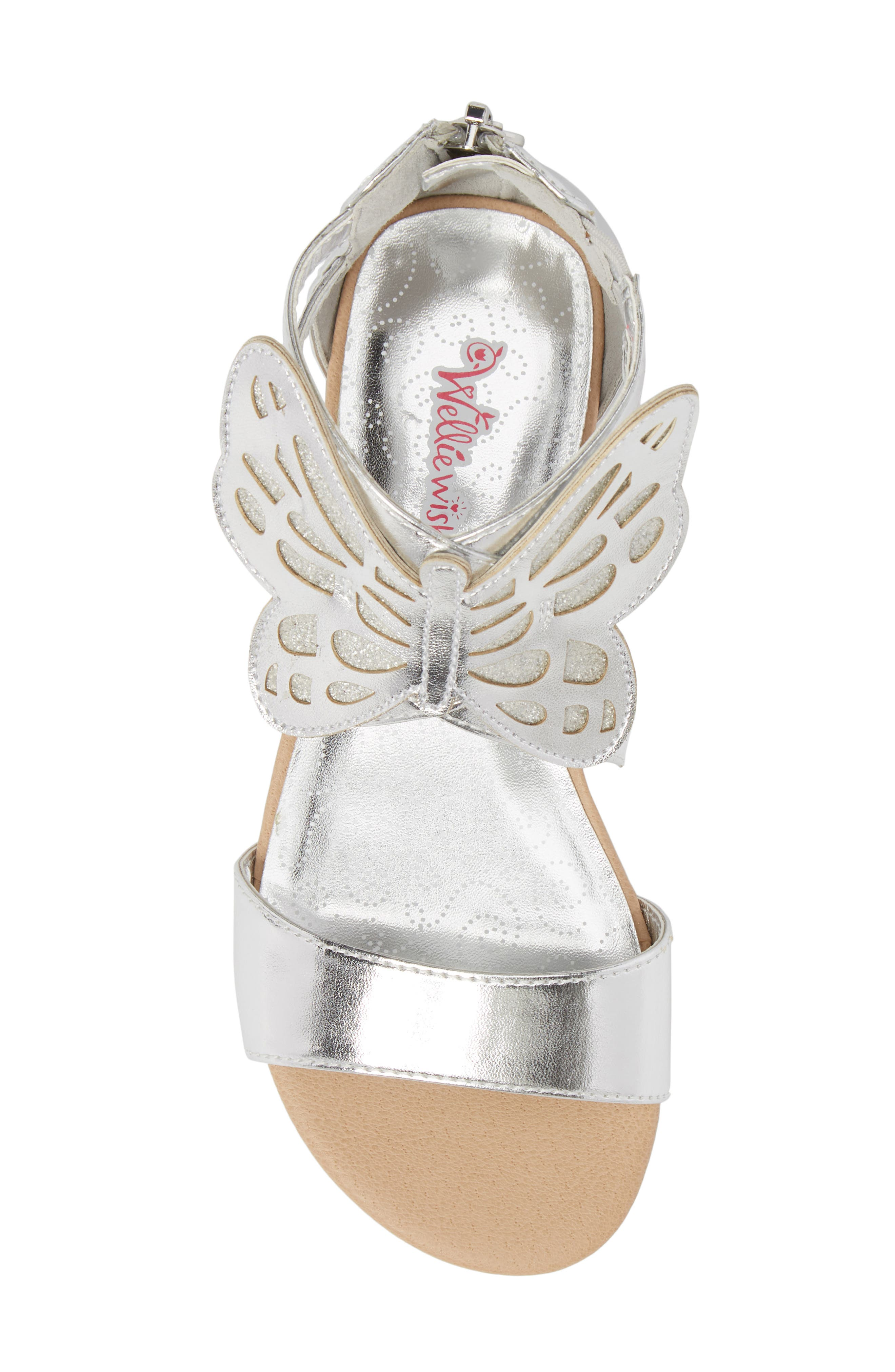 Willa Flutter Metallic Sandal,                             Alternate thumbnail 5, color,                             Silver Metallic