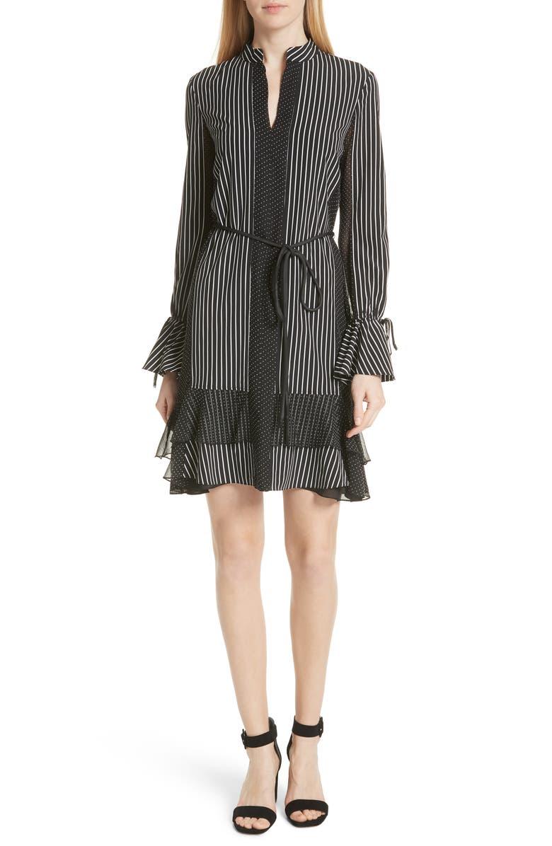 Pinstripe Silk Shift Dress