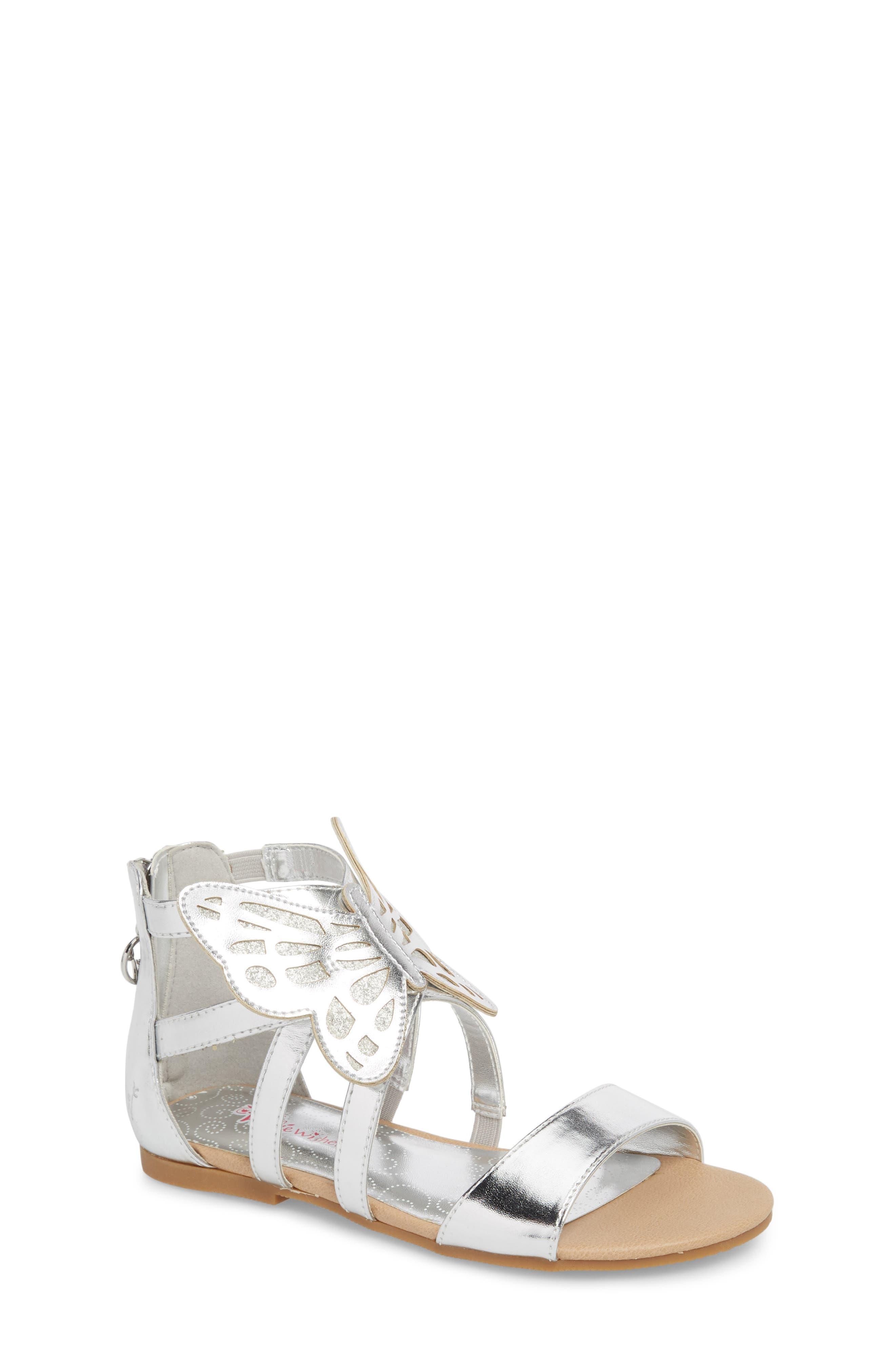 Willa Flutter Metallic Sandal,                             Main thumbnail 1, color,                             Silver Metallic