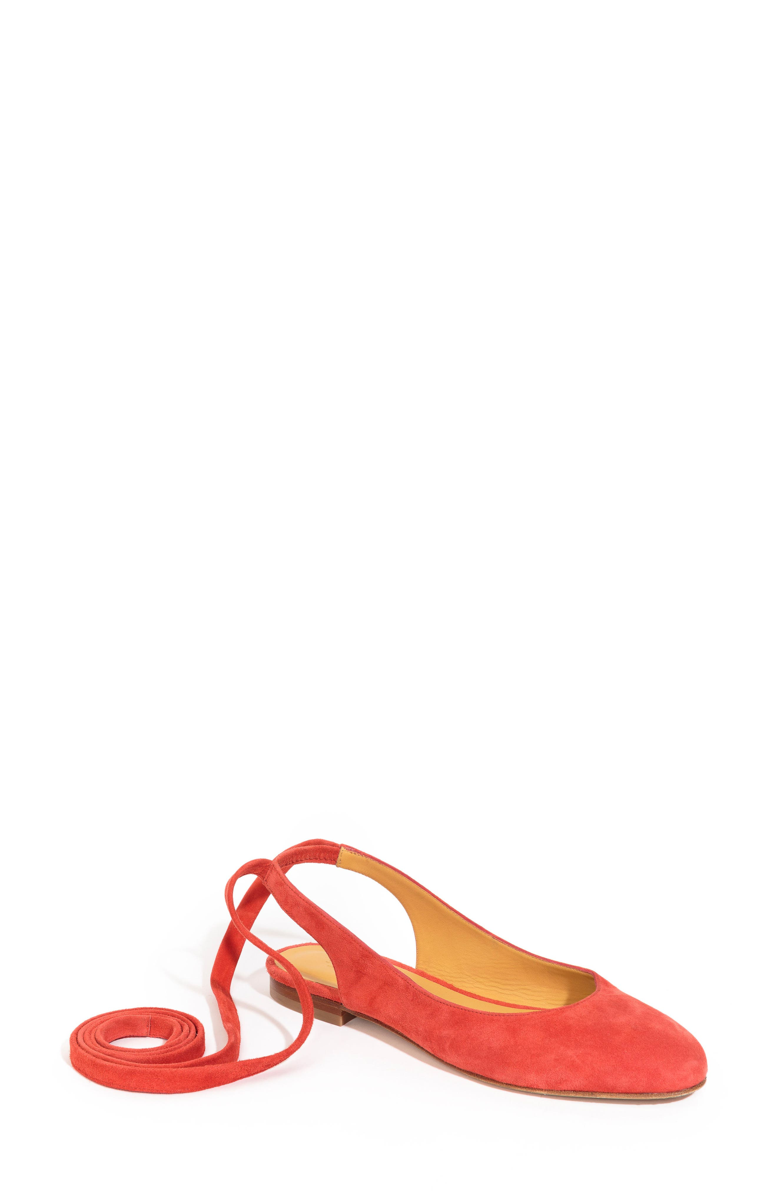 Nina Ballerina Ankle Wrap Flat,                             Main thumbnail 1, color,                             Coral Red Suede