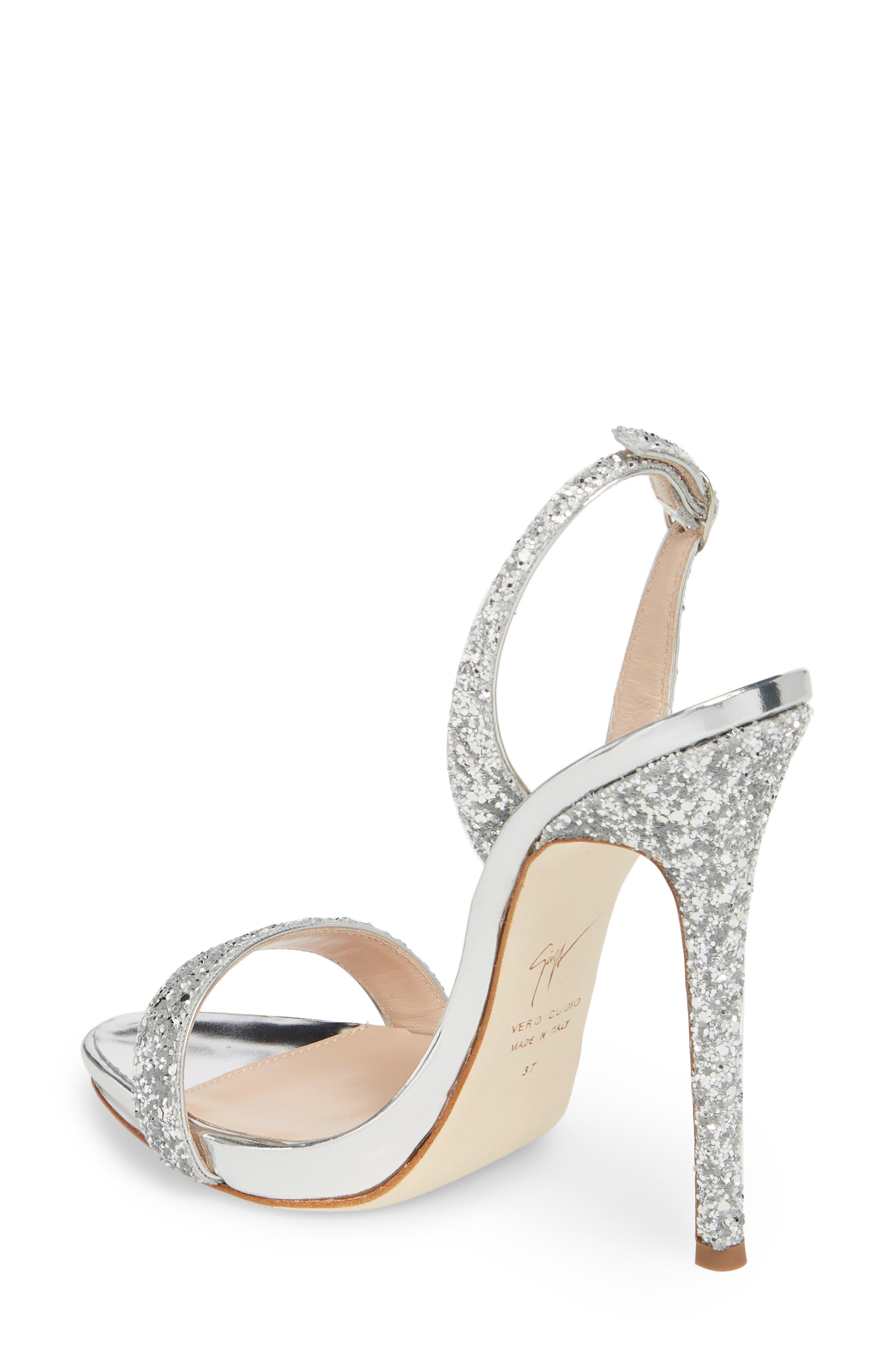 Glitter Slingback Sandal,                             Alternate thumbnail 2, color,                             Silver