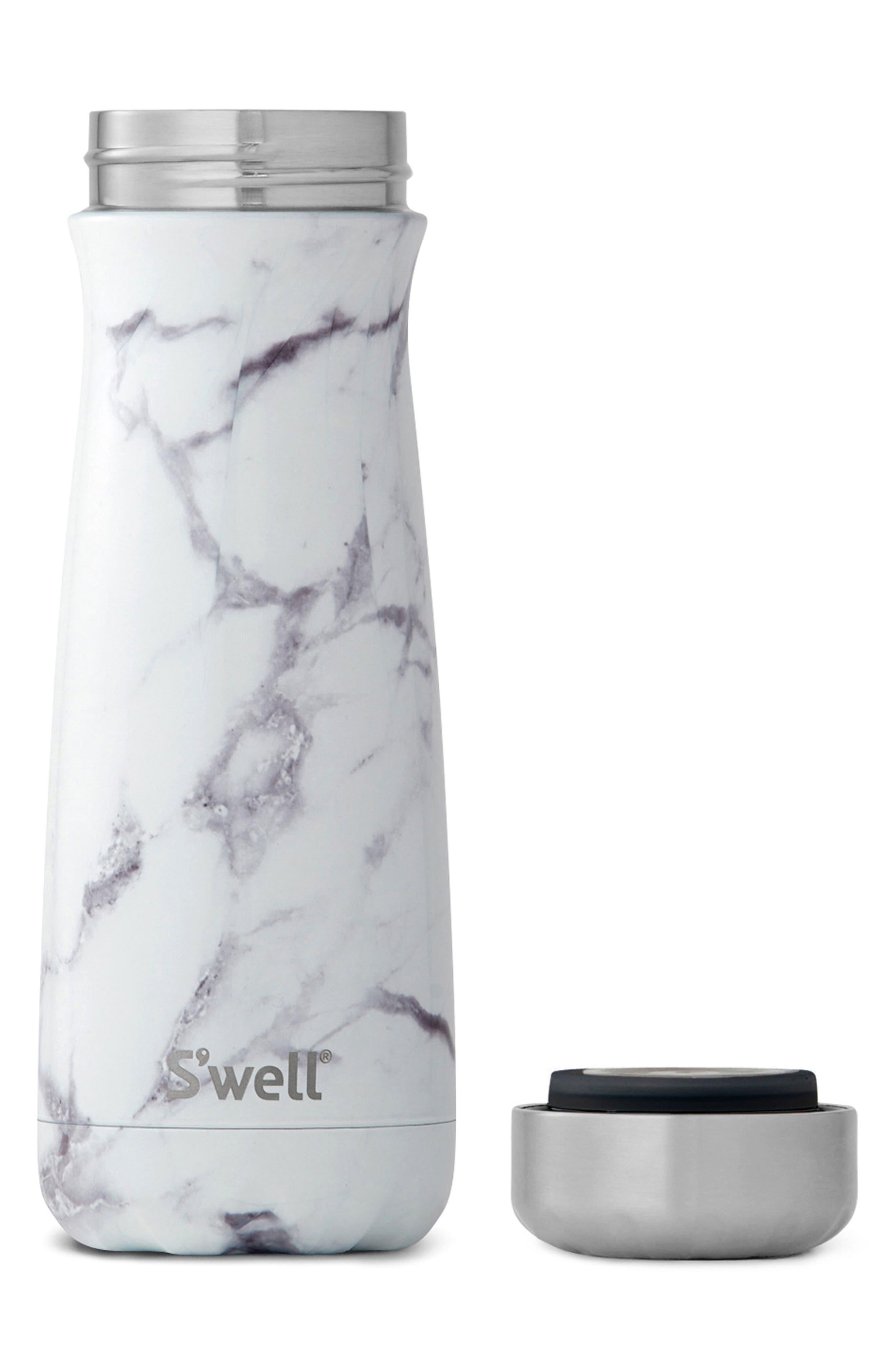 Traveler White Marble Insulated Stainless Steel Water Bottle,                             Alternate thumbnail 2, color,                             White Marble
