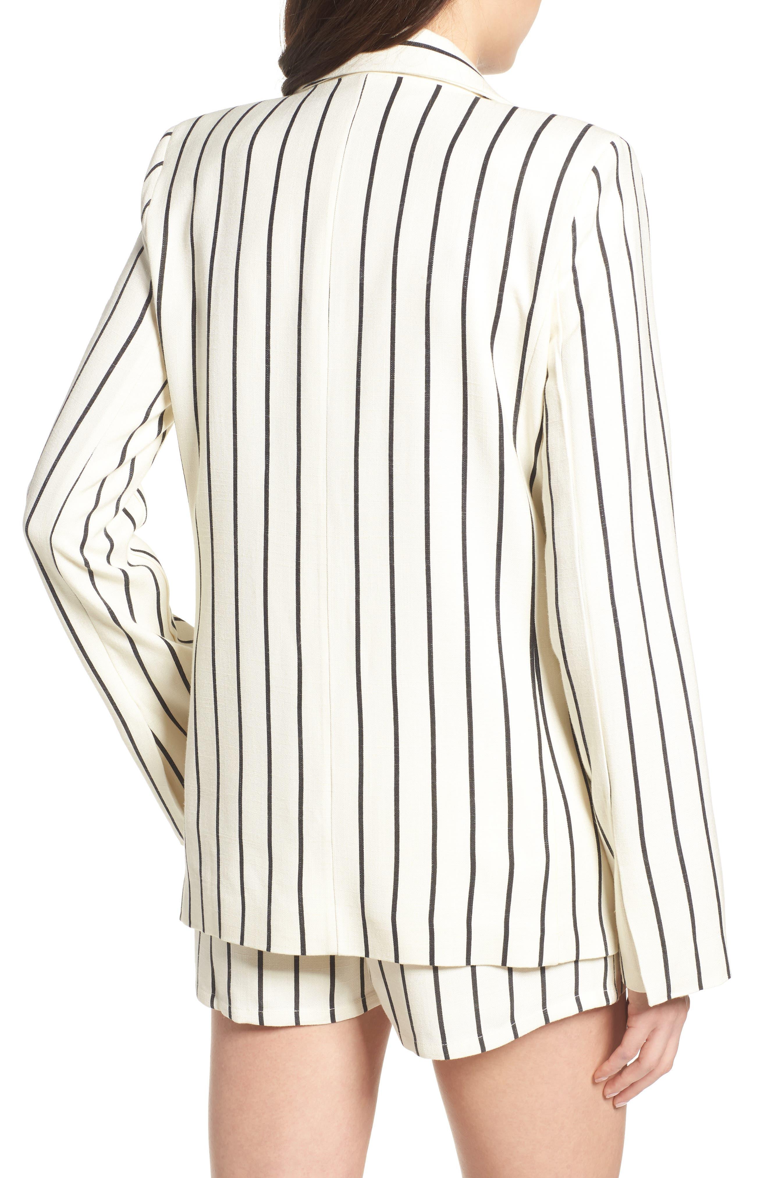 Fanning Stripe Blazer,                             Alternate thumbnail 3, color,                             Natural And Black