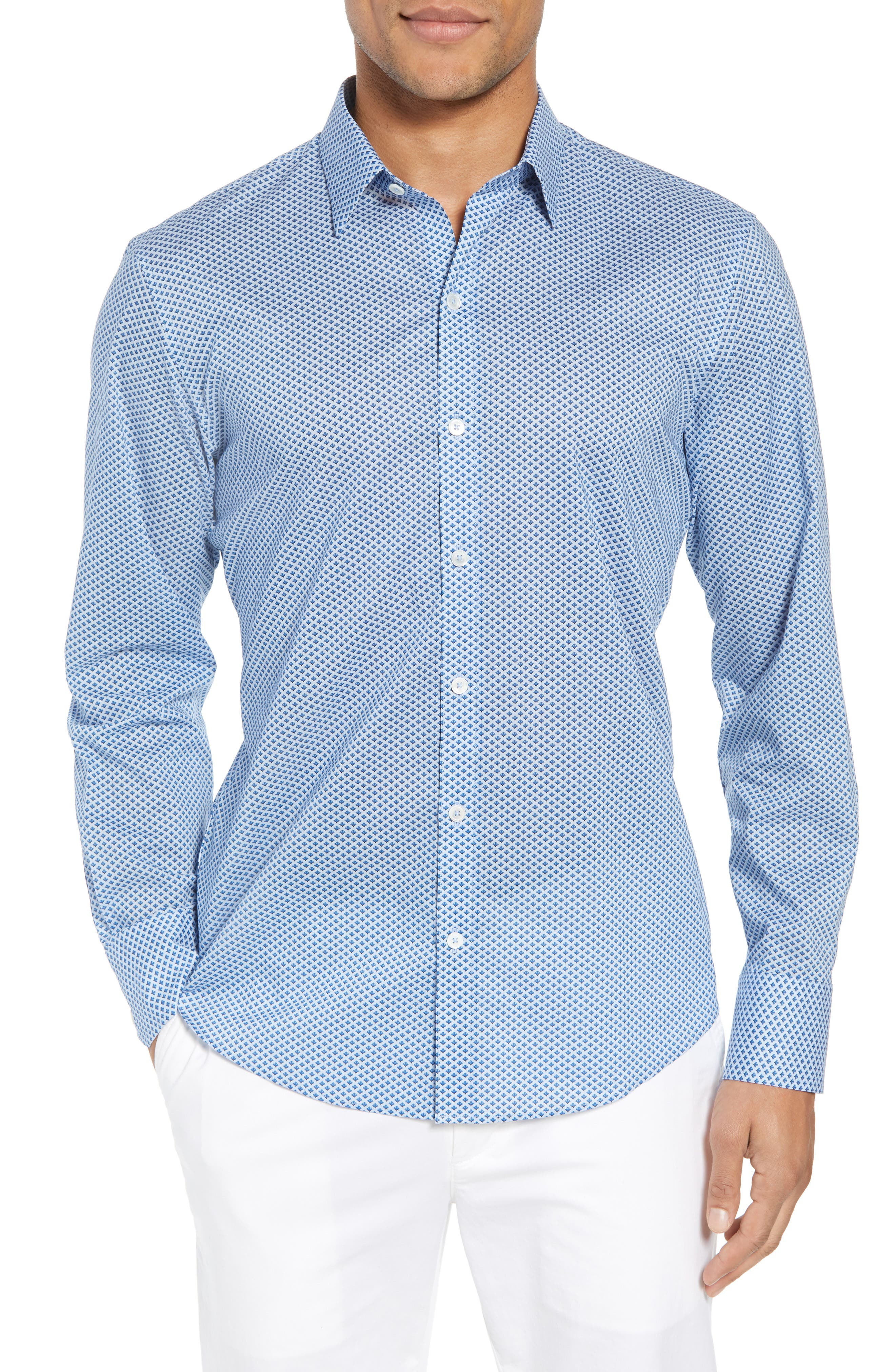 Vanik Geo Leaf Print Sport Shirt,                         Main,                         color, Blue