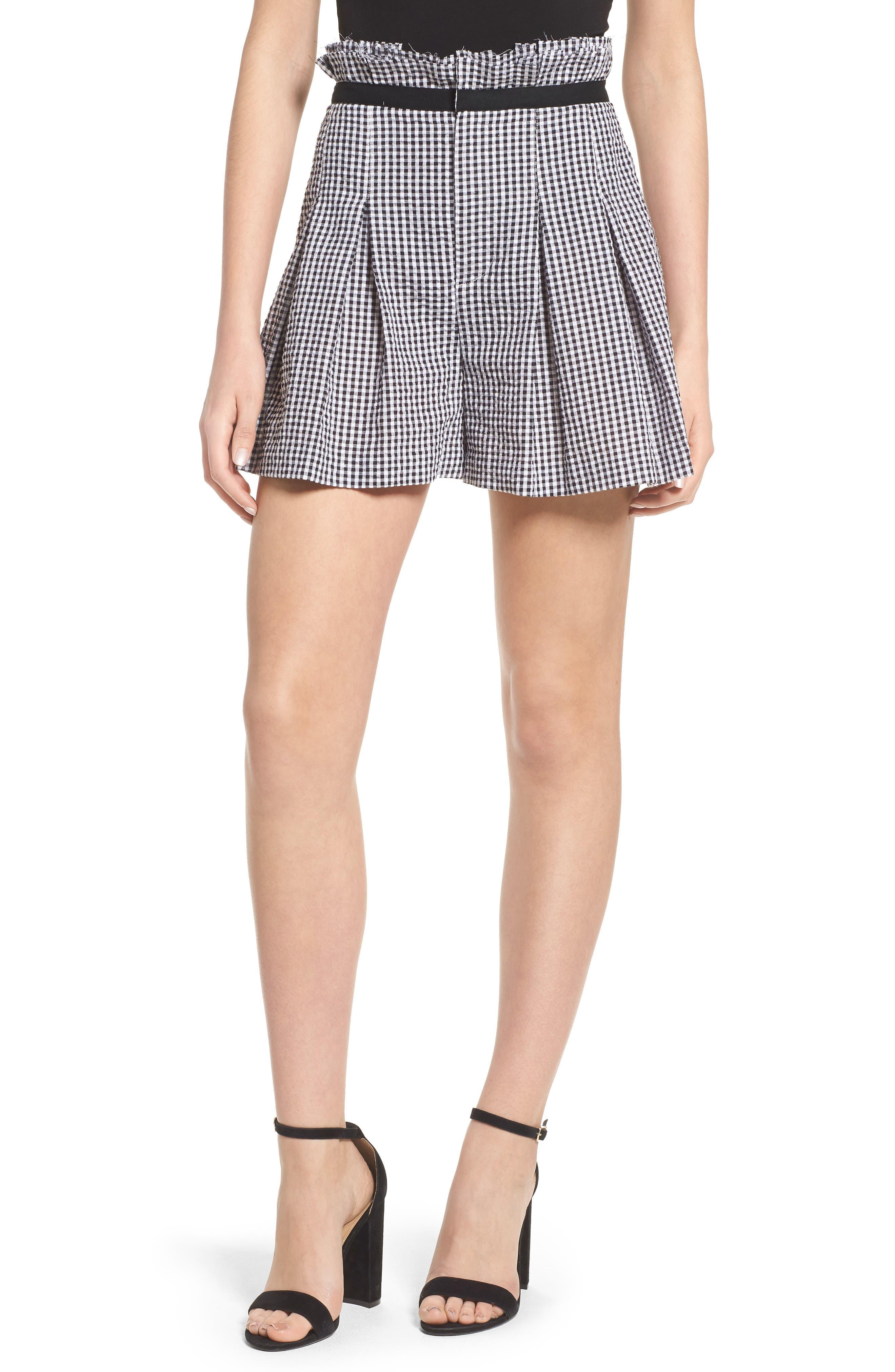 Gingham Paperbag Shorts,                             Main thumbnail 1, color,                             Black/ White Multi