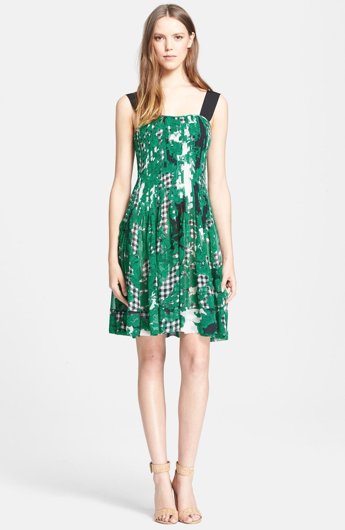 'Karlyn' Pleated Silk Fit & Flare Dress,                             Main thumbnail 1, color,                             Toile Collage Green