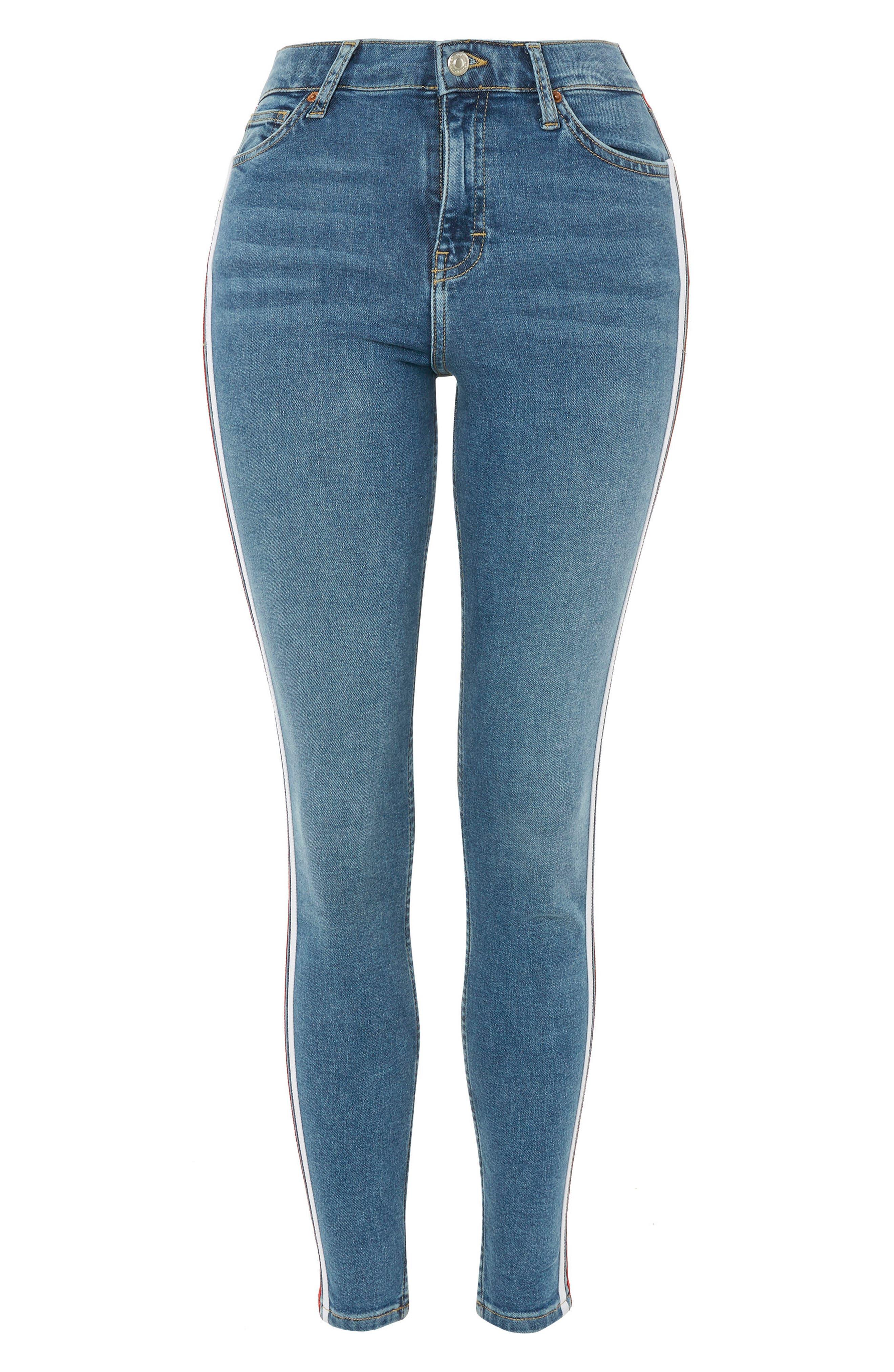 Jamie Side Stripe Jeans,                             Alternate thumbnail 4, color,                             Mid Denim Multi