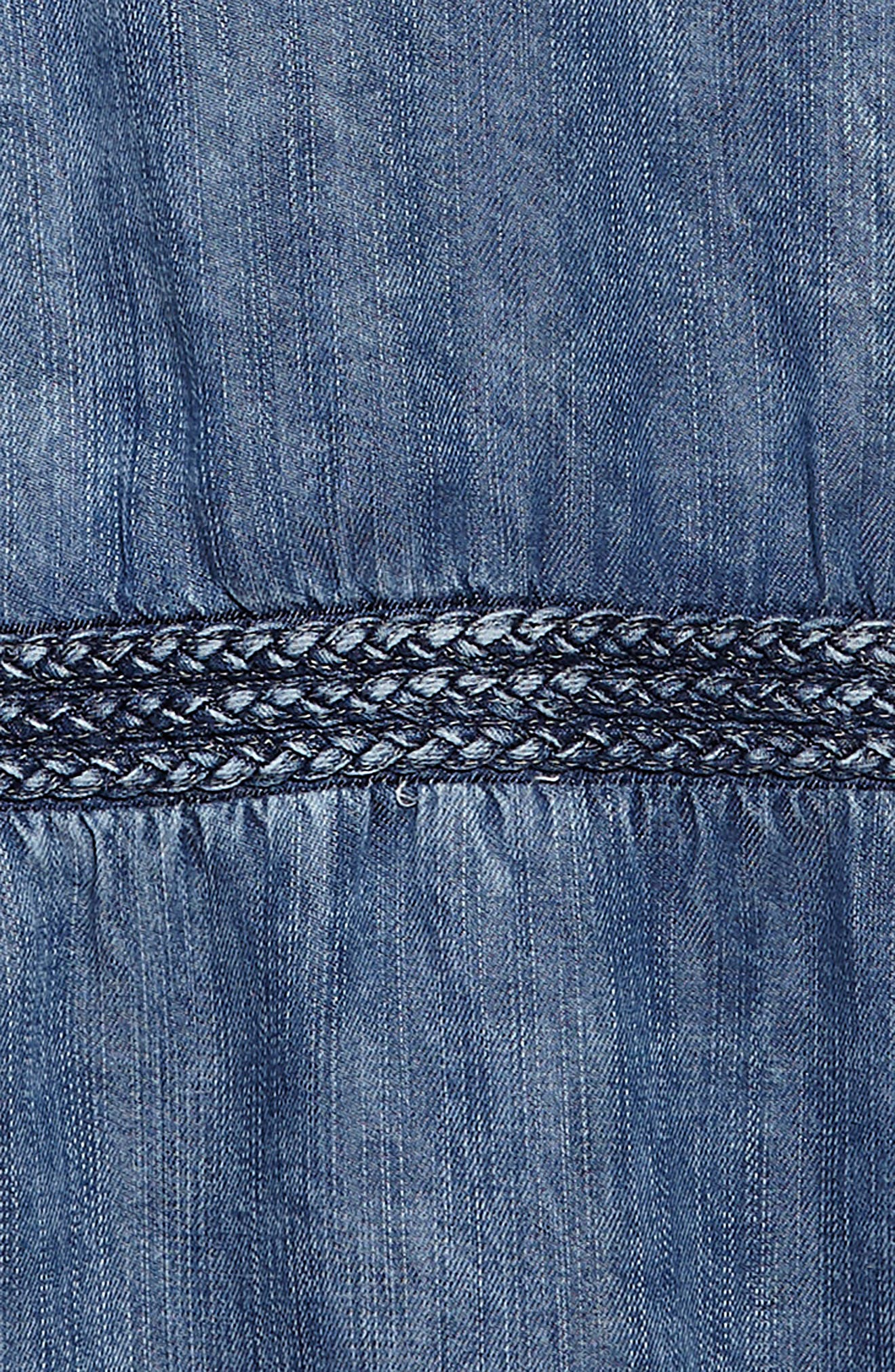 Braided Chambray Dress,                             Alternate thumbnail 3, color,                             Indigo