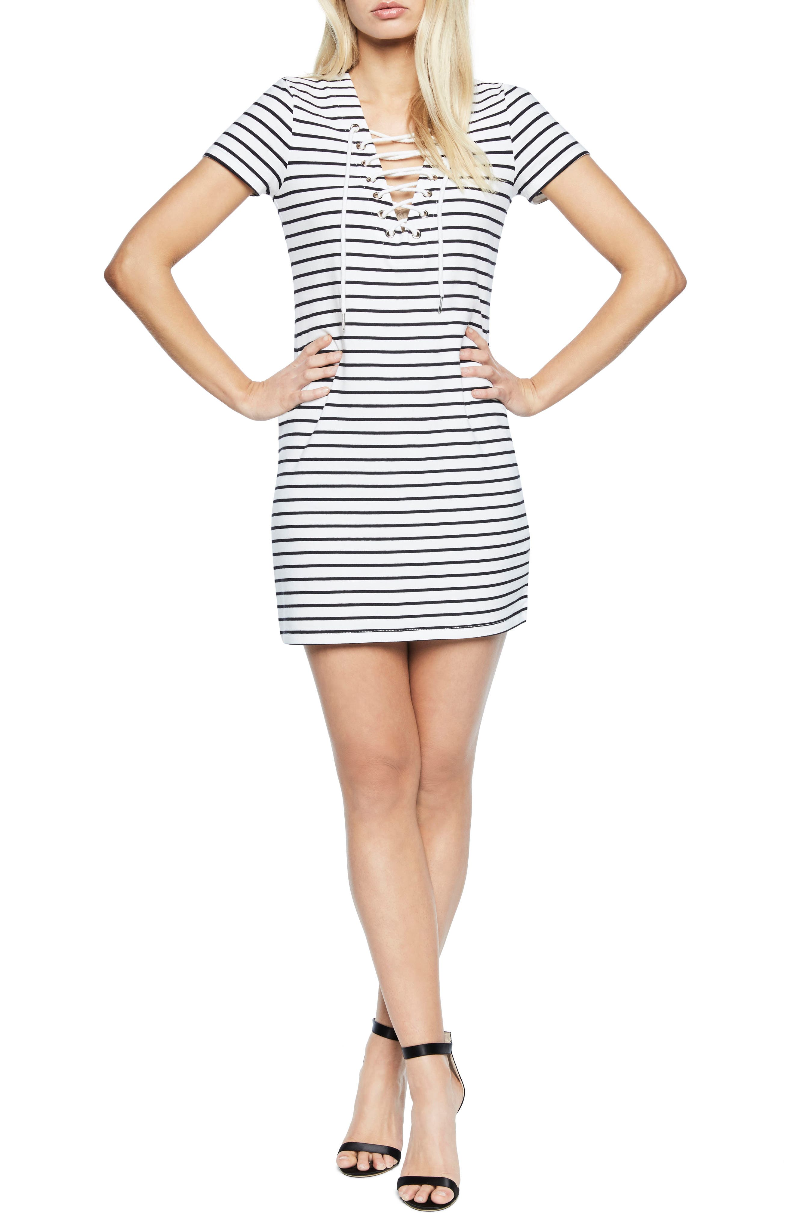 Stripe Shift Dress,                             Main thumbnail 1, color,                             Black/ White Stripe