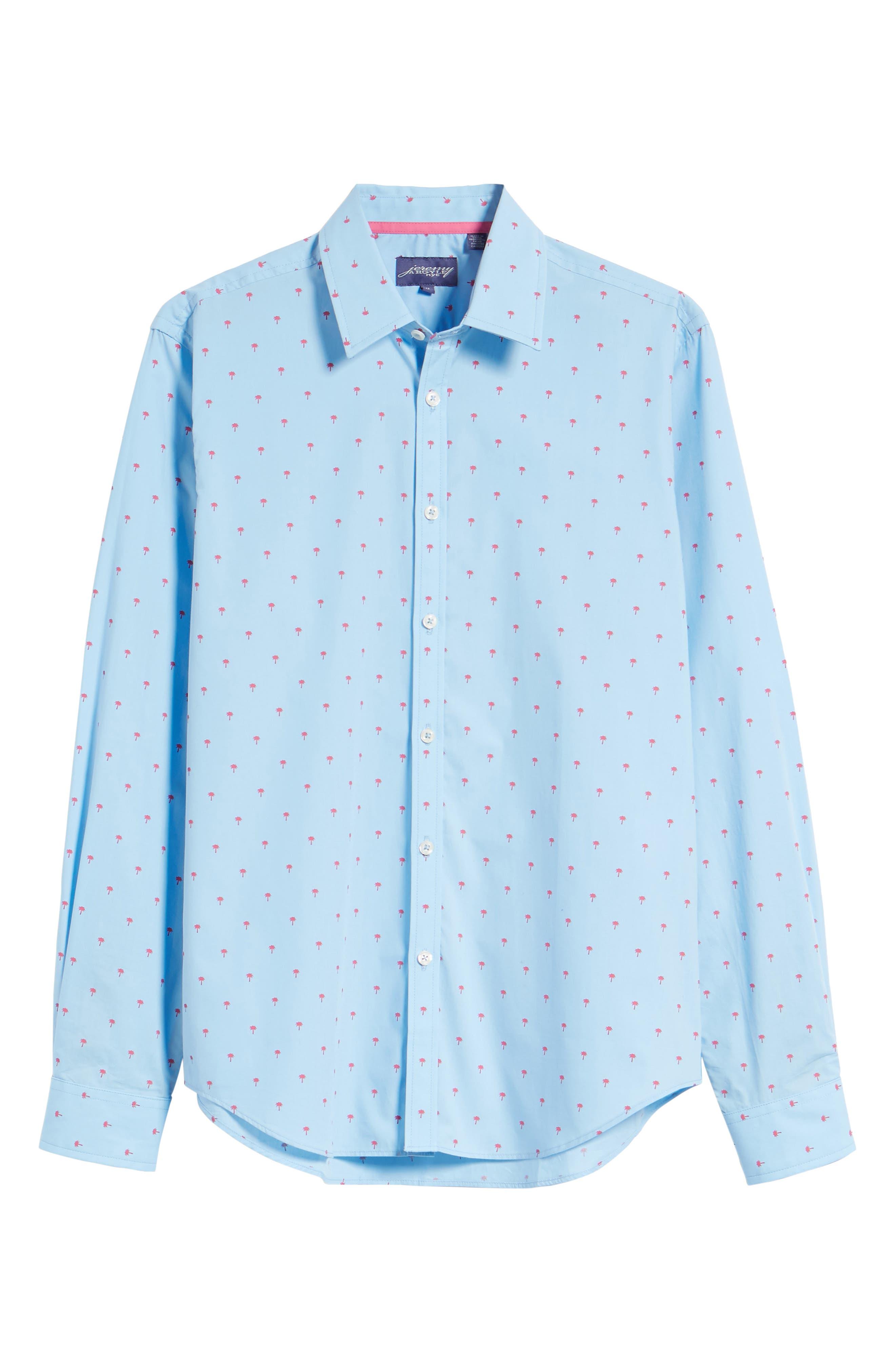 Slim Fit Palm Print Sport Shirt,                             Alternate thumbnail 6, color,                             Light Blue