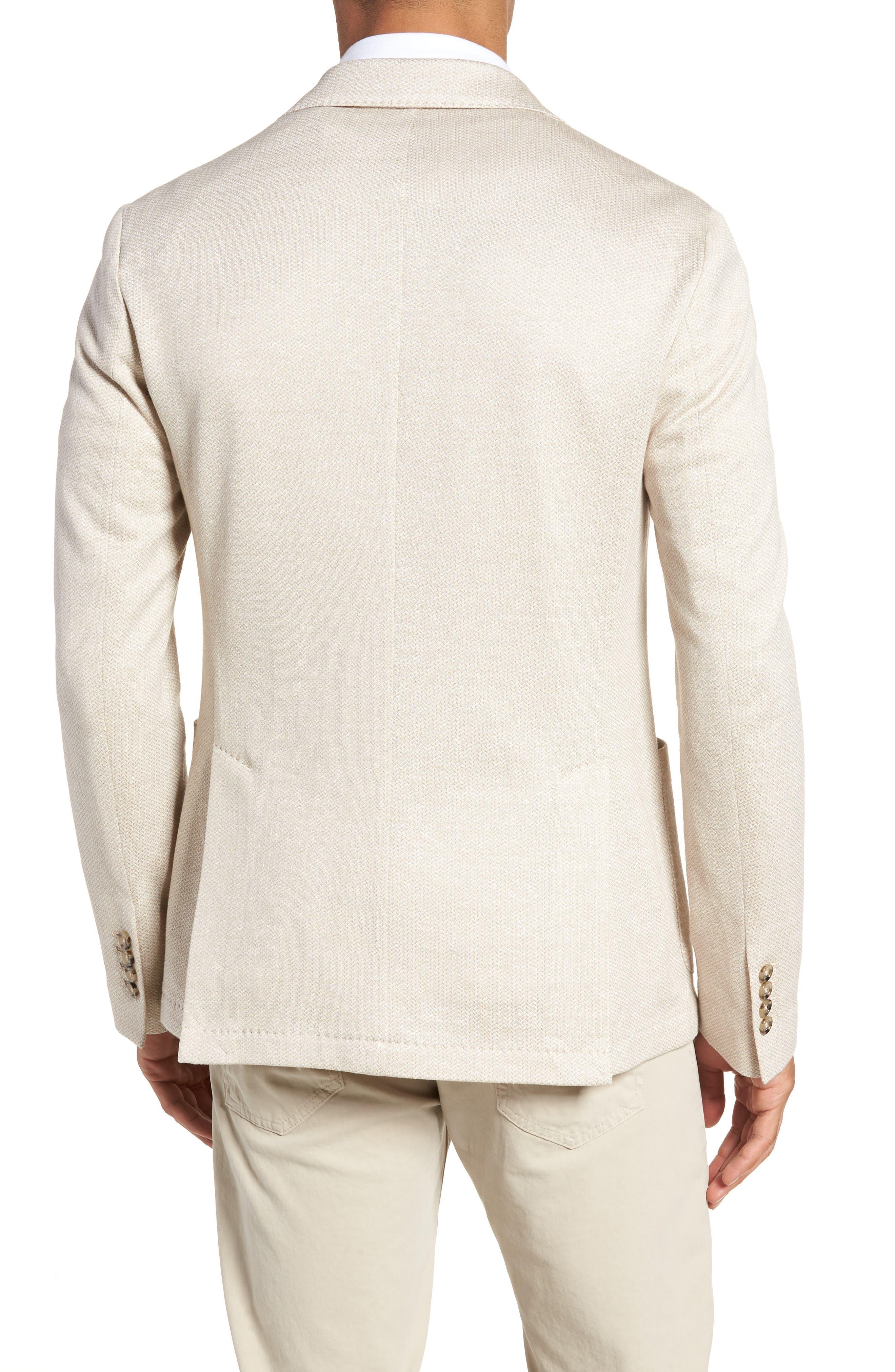 Jersey Trim Fit Linen & Cotton Blazer,                             Alternate thumbnail 2, color,                             Sand