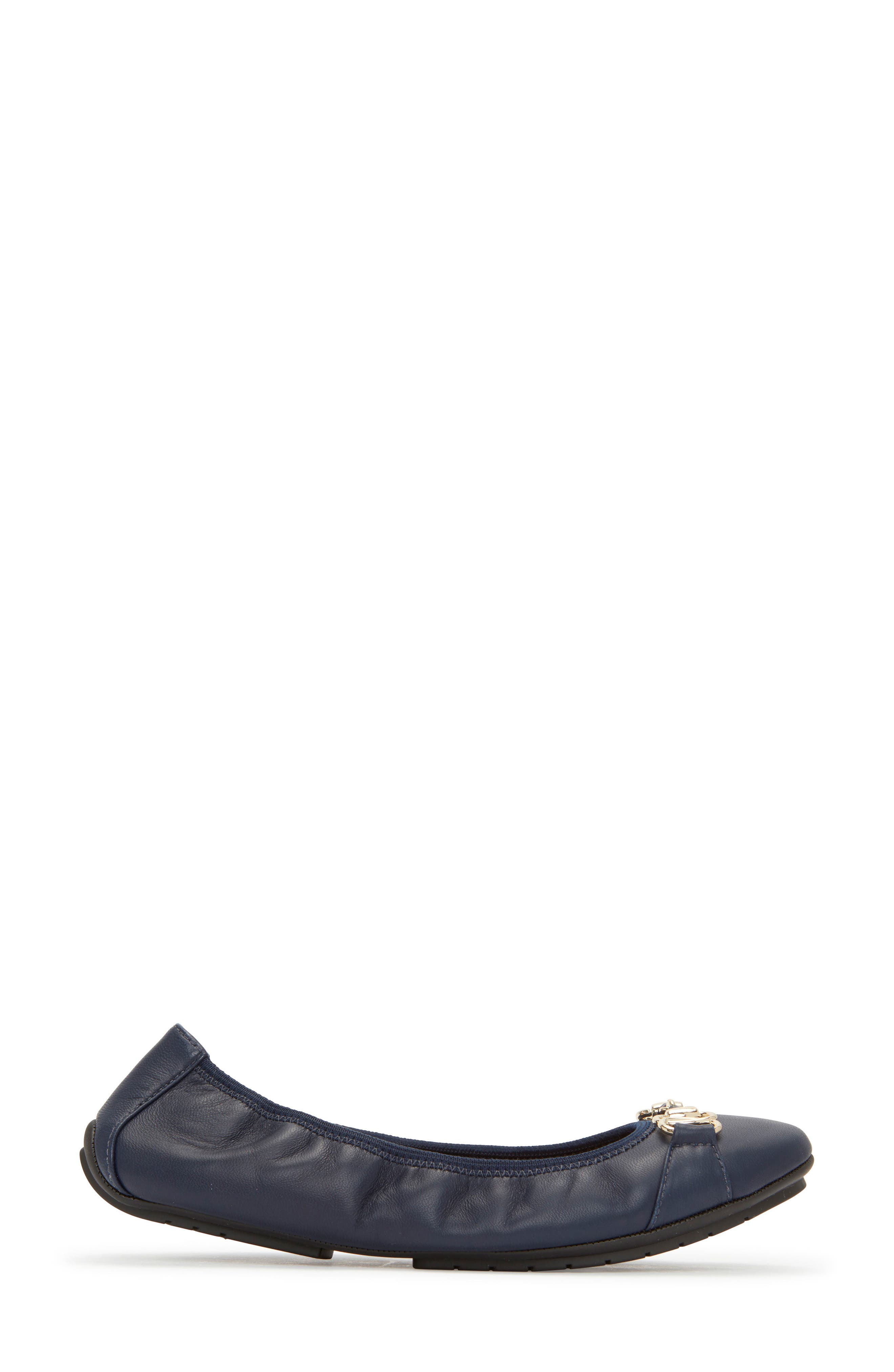 Olympia Skimmer Flat,                             Alternate thumbnail 6, color,                             Navy Leather