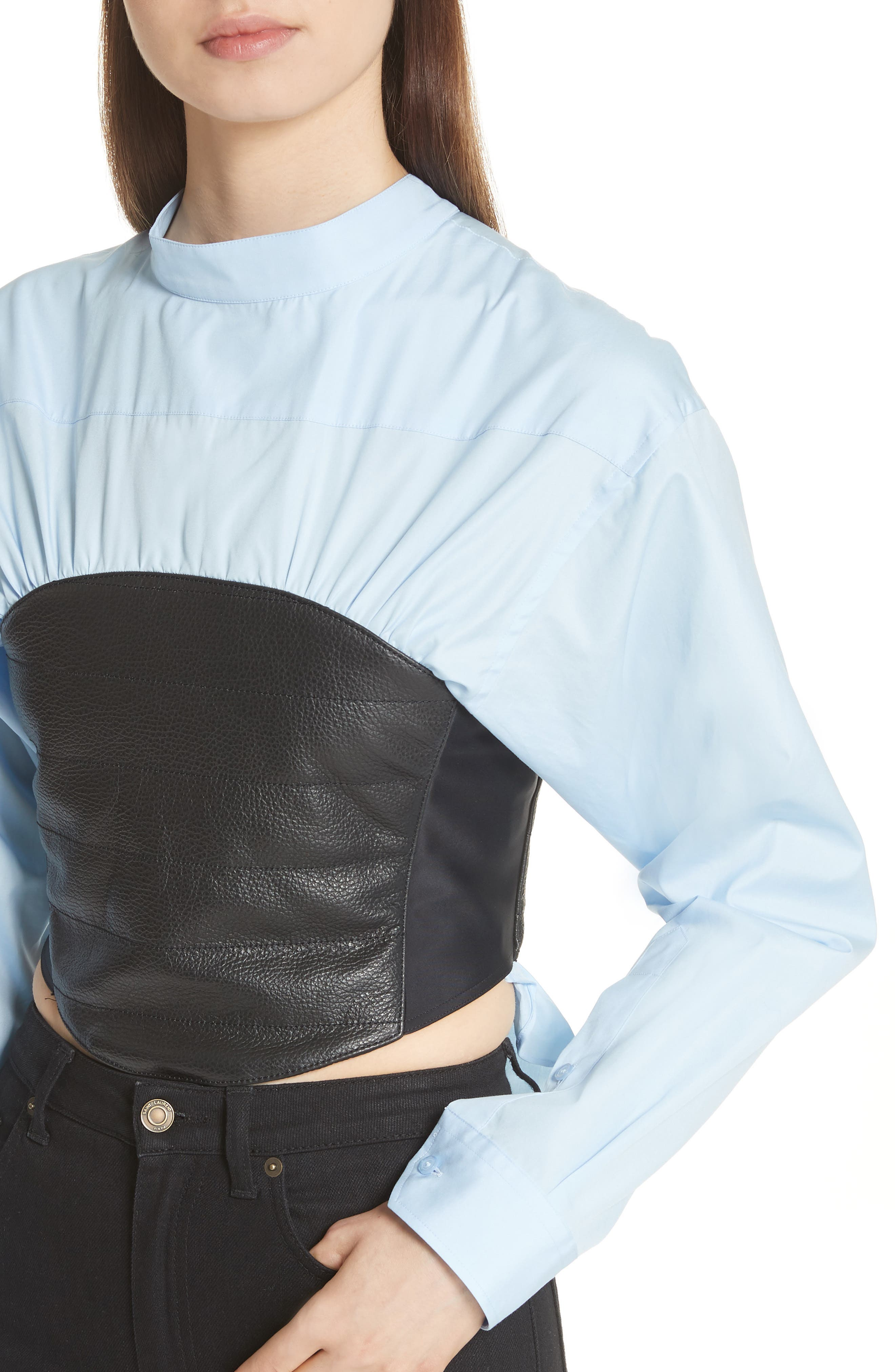 Bustier Shirt,                             Alternate thumbnail 4, color,                             Blue/ Black Bustier