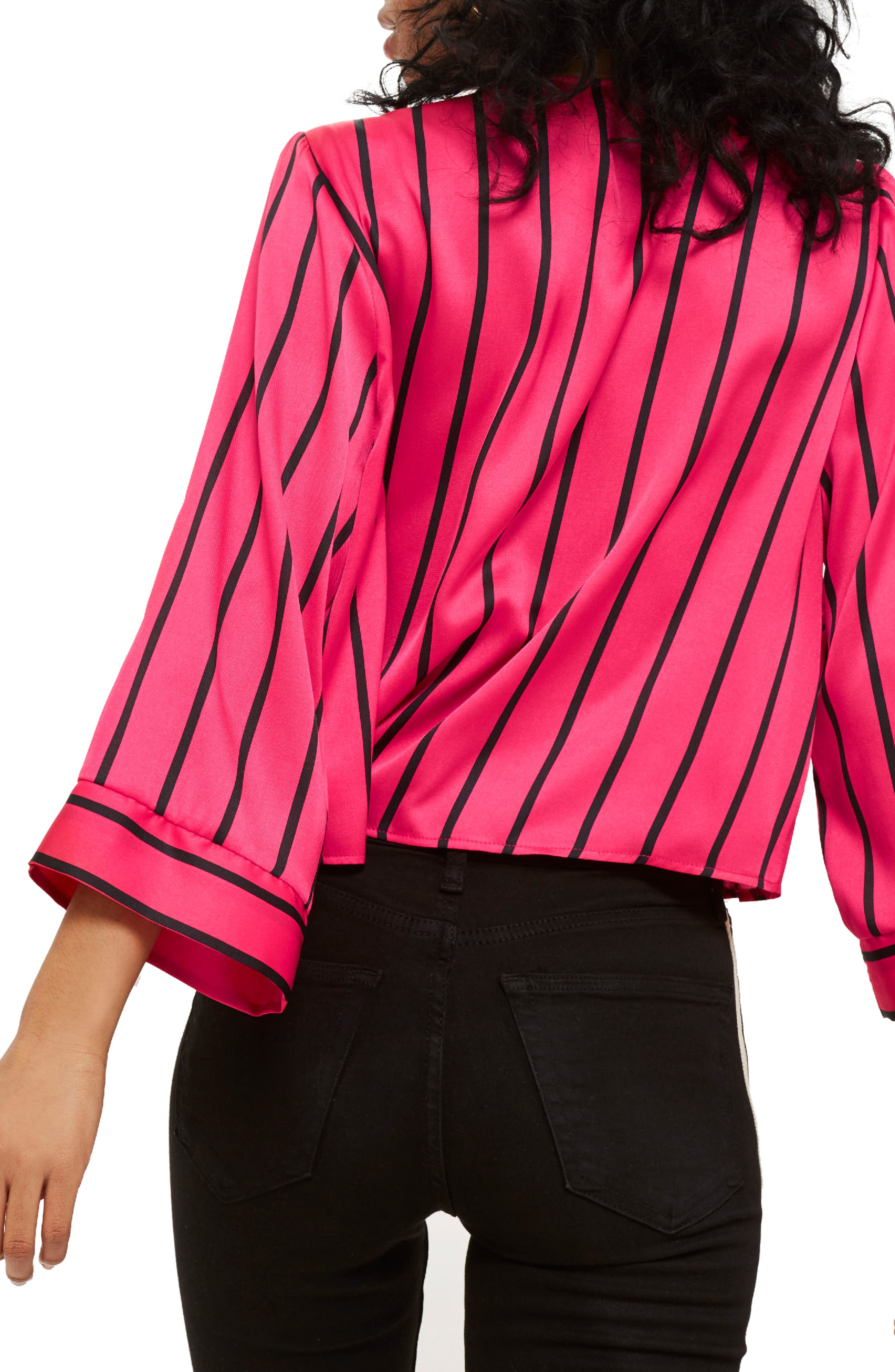 Stripe Tie Wrap Kimono Top,                             Alternate thumbnail 2, color,                             Pink Multi