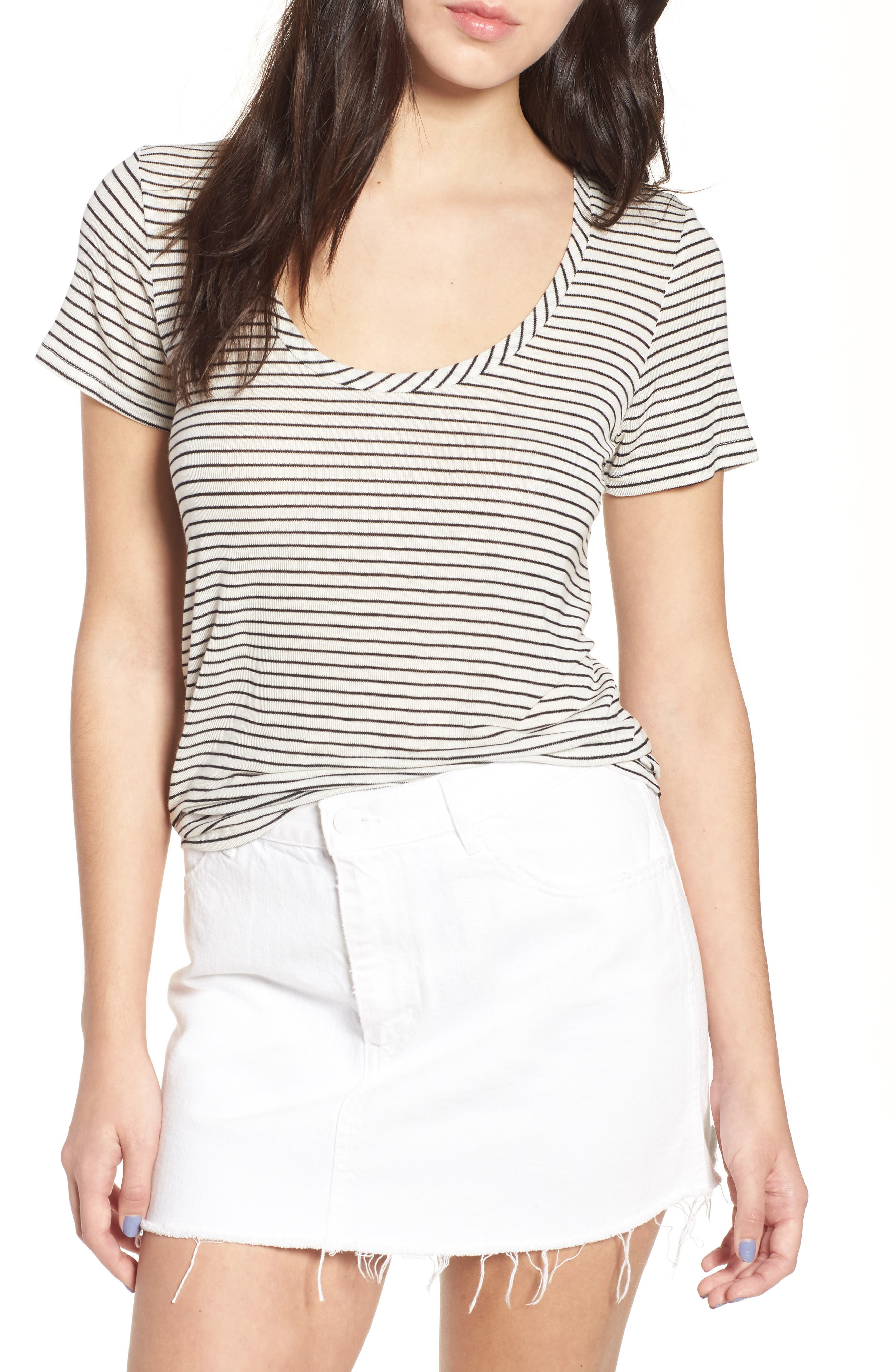 Scoop Neck Tee,                             Main thumbnail 1, color,                             Black/ White Stripe