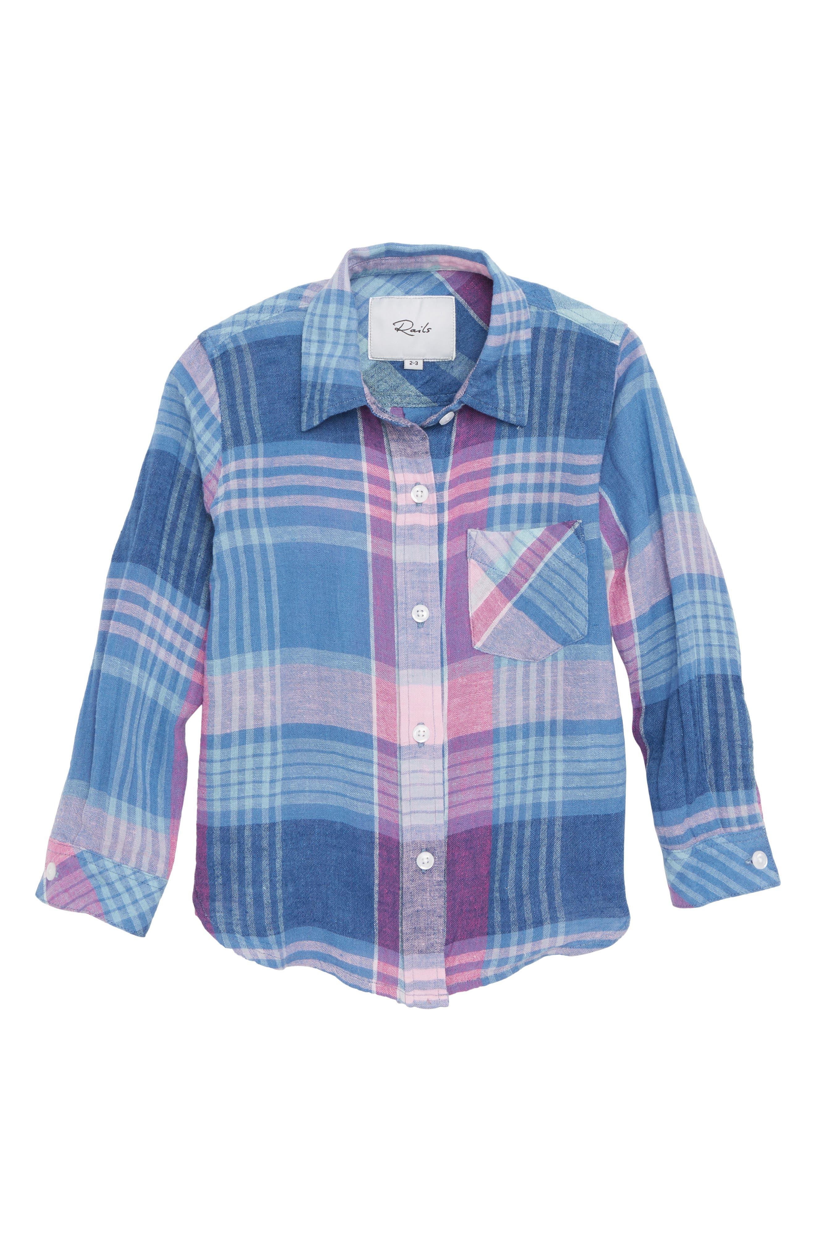 Cora Plaid Shirt,                         Main,                         color, Laguna Coast Azaela