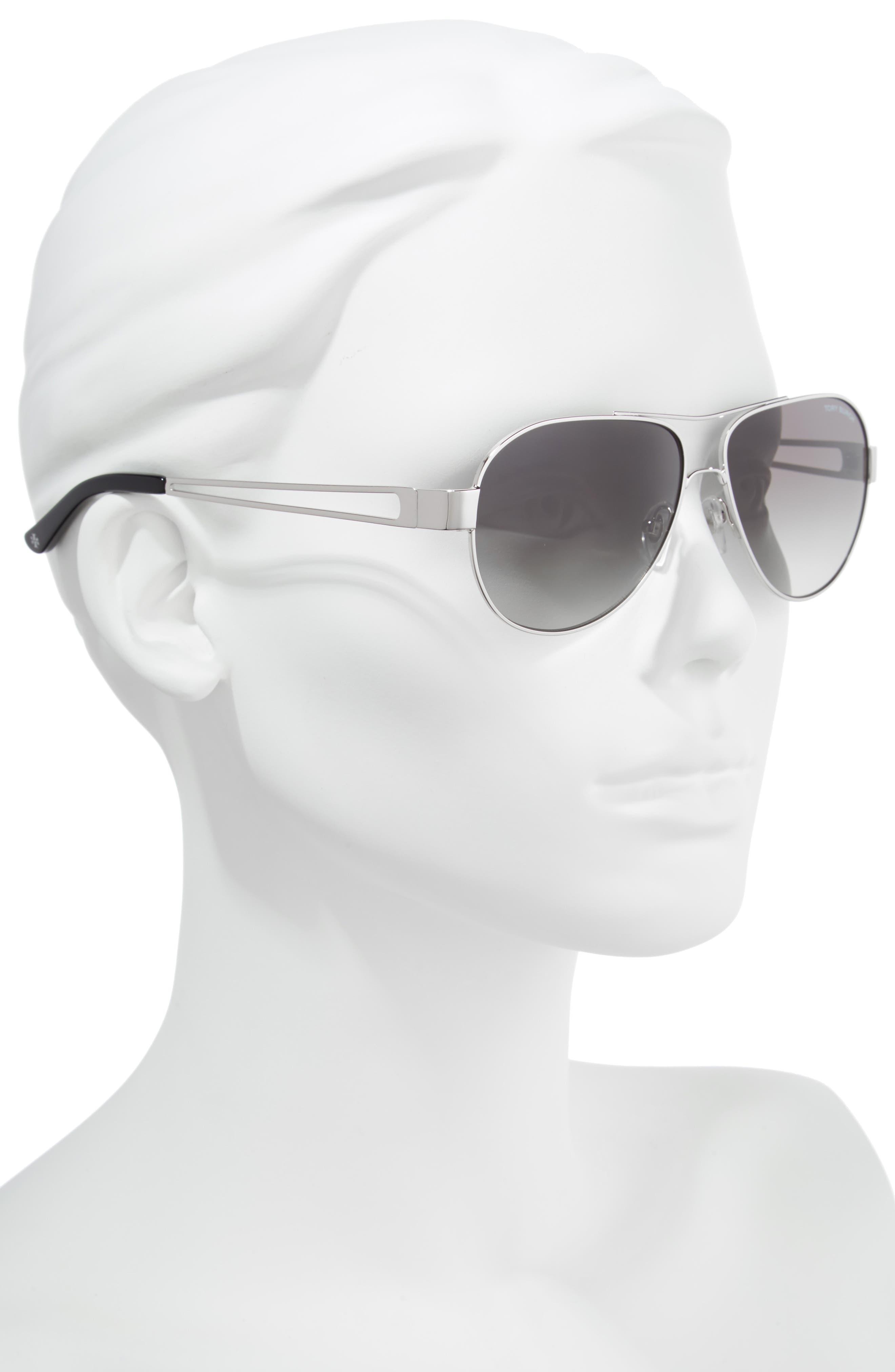 55mm Polarized Aviator Sunglasses,                             Alternate thumbnail 2, color,                             Silver/ Black Gradient