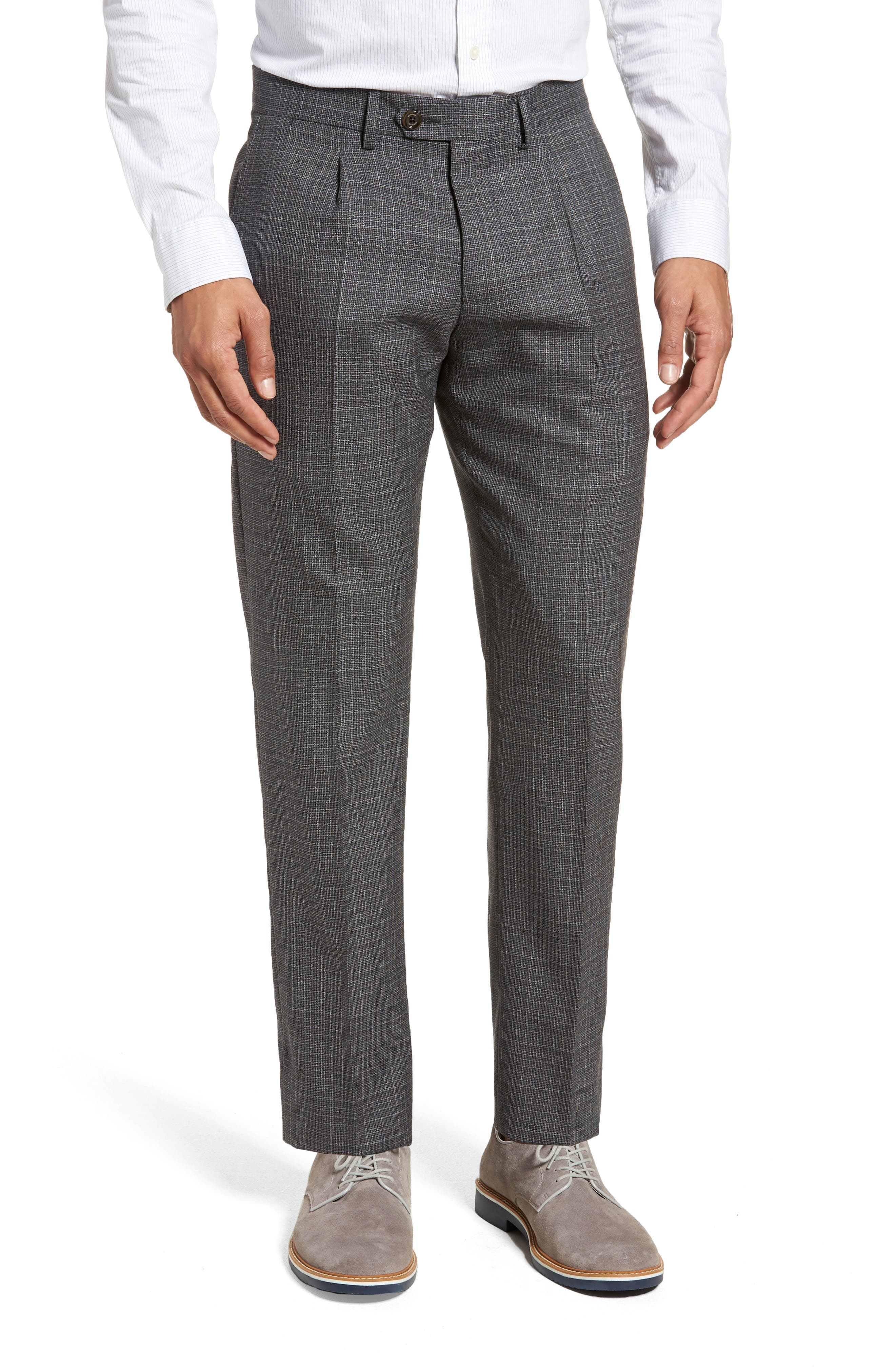 Pleated Check Wool Trousers,                         Main,                         color, Dark Grey