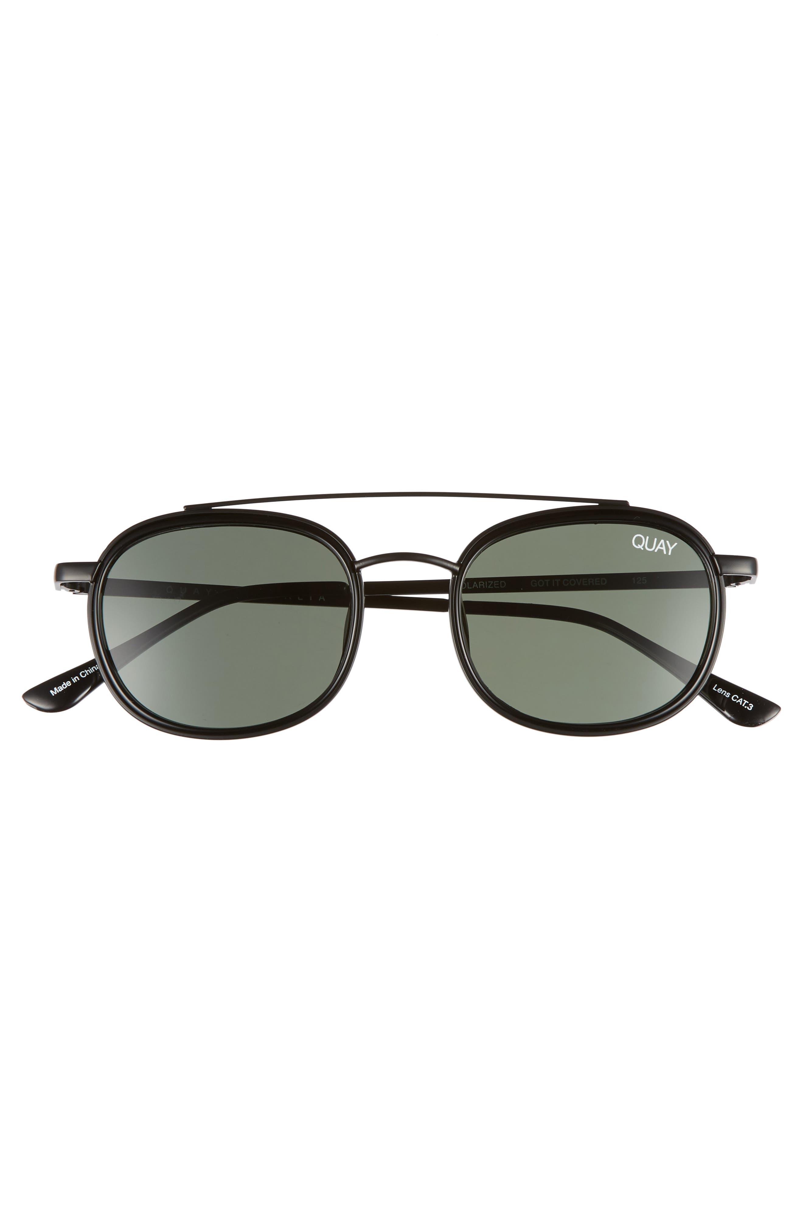 Got It Covered 50mm Polarized Sunglasses,                             Alternate thumbnail 2, color,                             Black / Green Lens