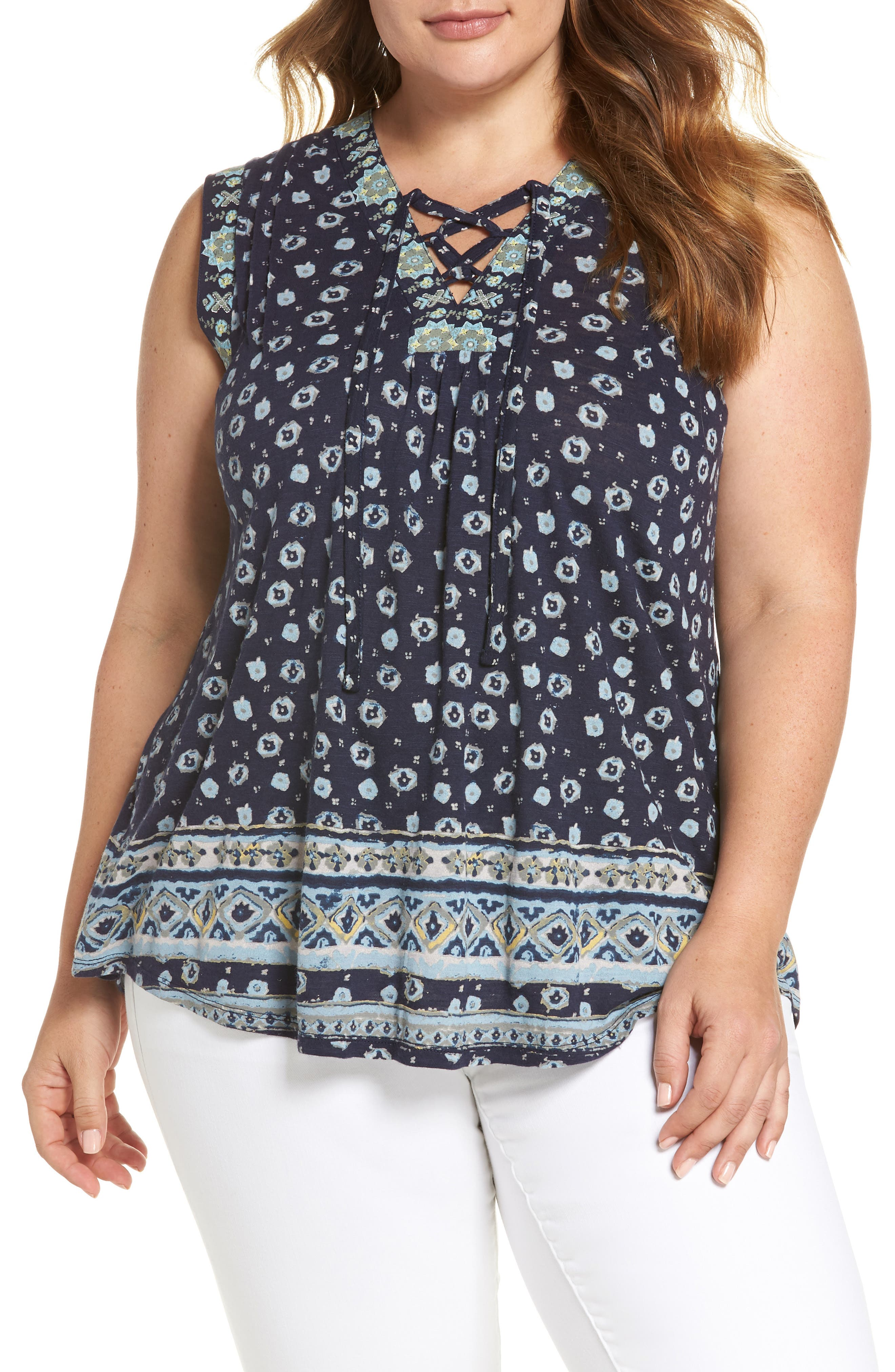 Print Lace-Up Top,                         Main,                         color, Navy Multi
