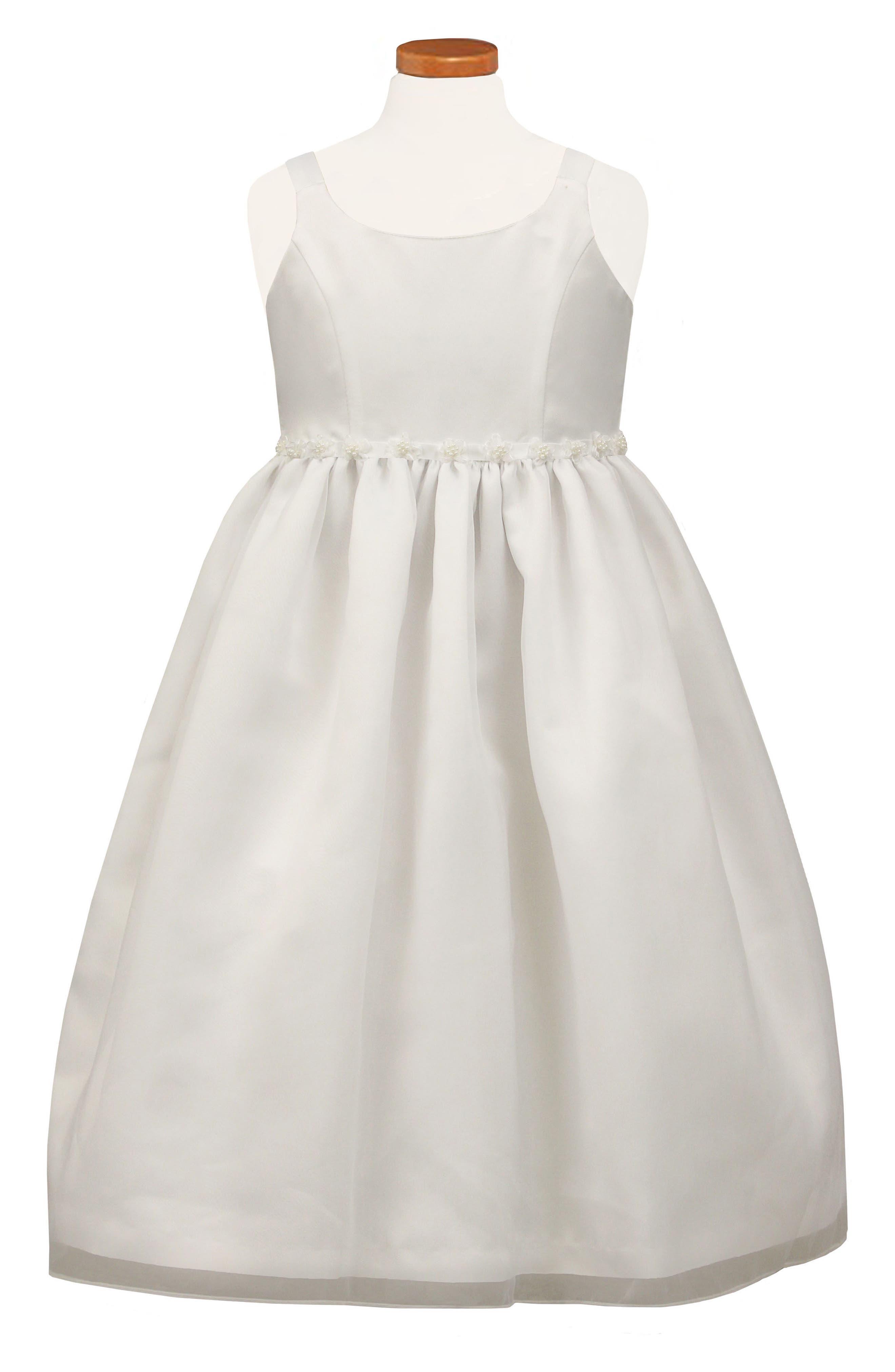 Beaded Flower Fit & Flare Dress,                             Main thumbnail 1, color,                             White