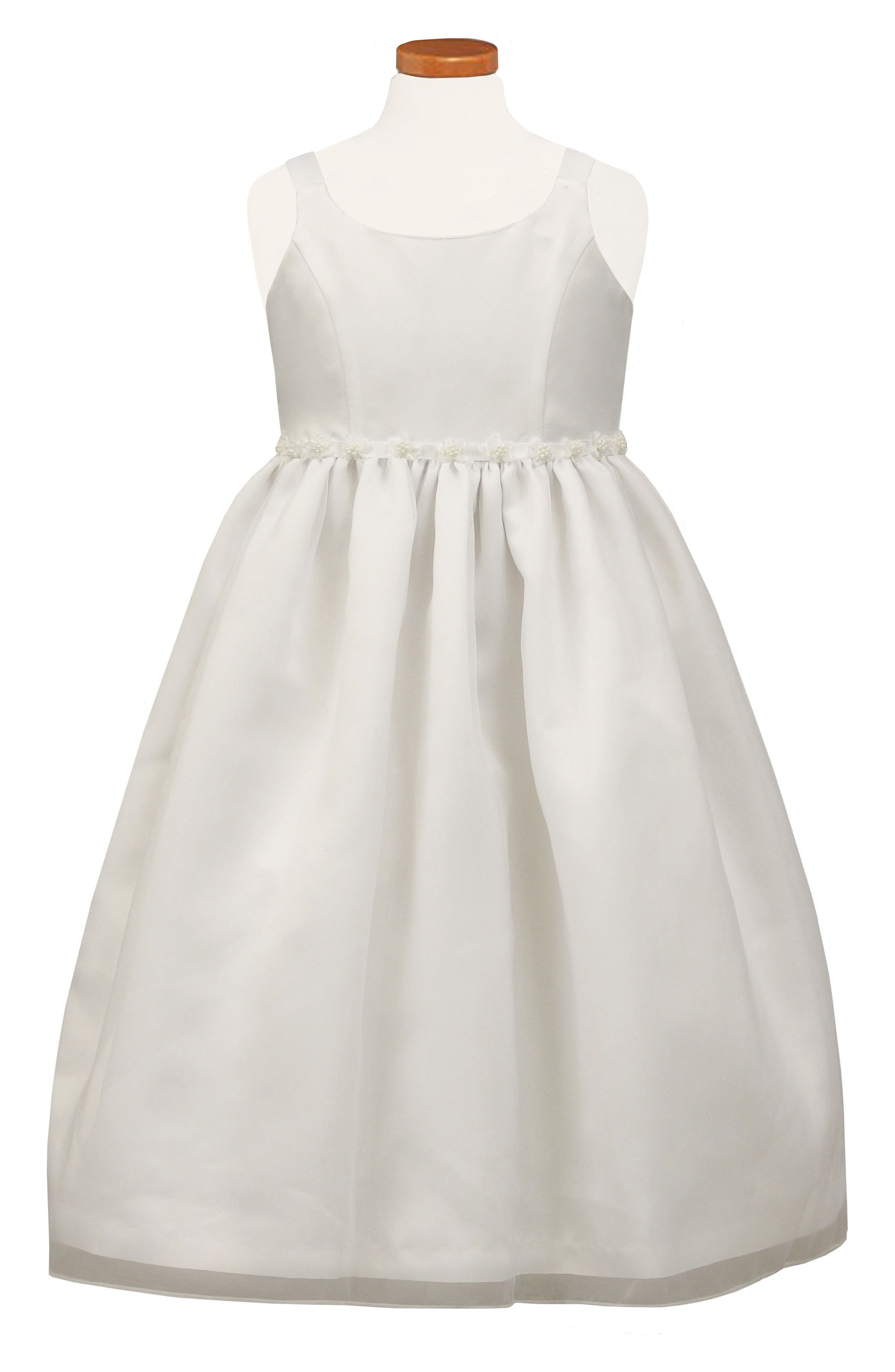 Beaded Flower Fit & Flare Dress,                         Main,                         color, White