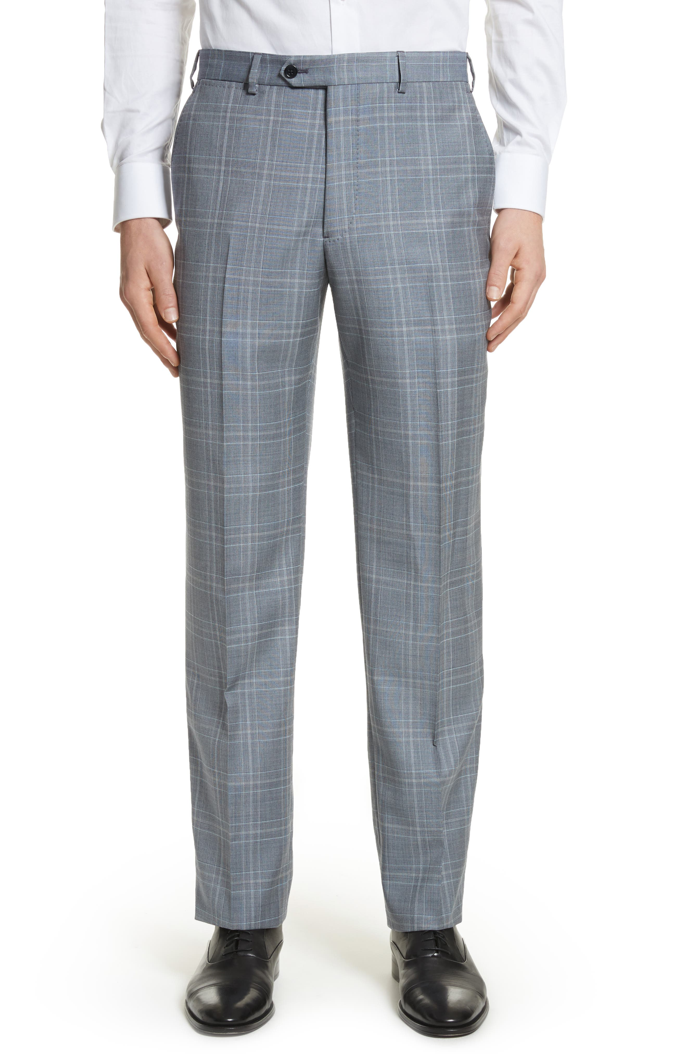 G-Line Trim Fit Plaid Wool Suit,                             Alternate thumbnail 6, color,                             Grey
