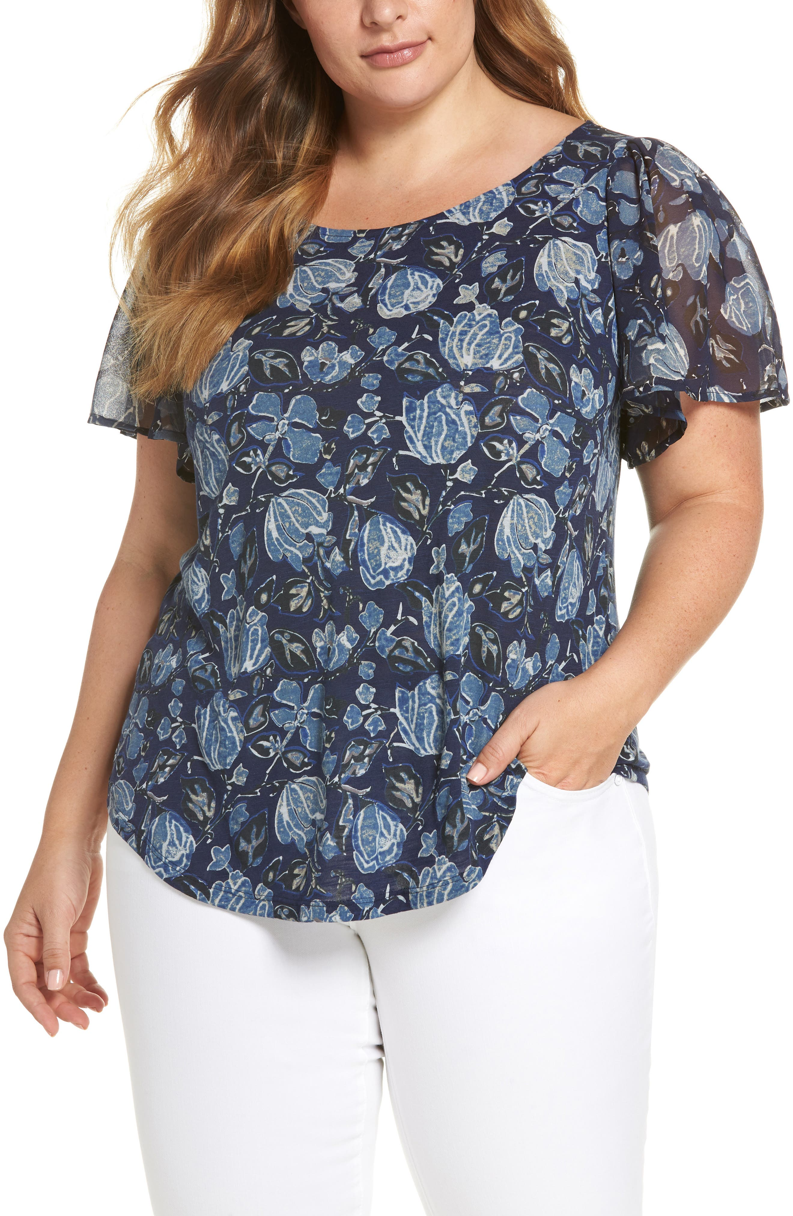 Floral Back Cutout Top,                         Main,                         color, Navy Multi