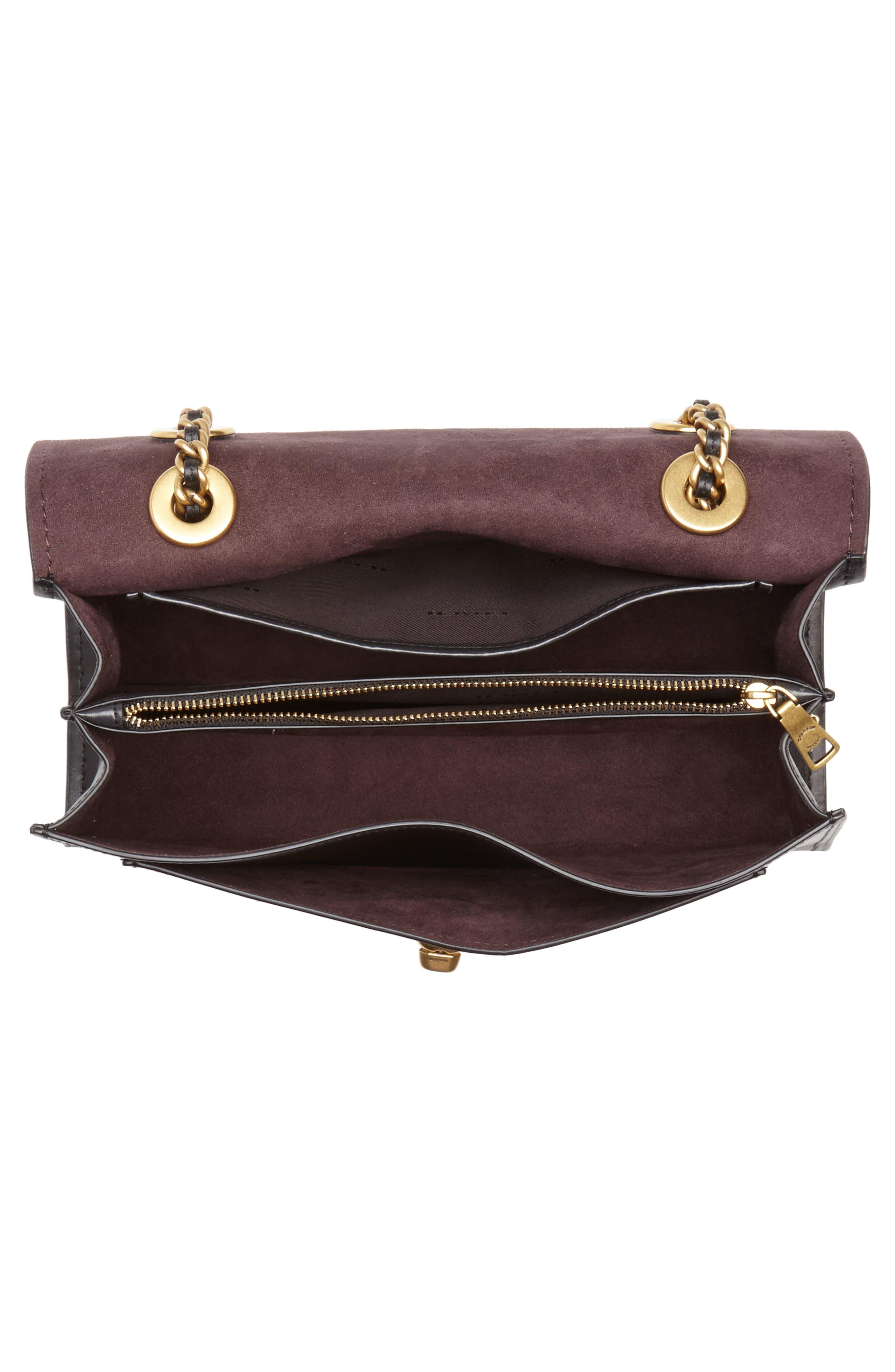 Parker Leather Shoulder Bag,                             Alternate thumbnail 4, color,                             Black