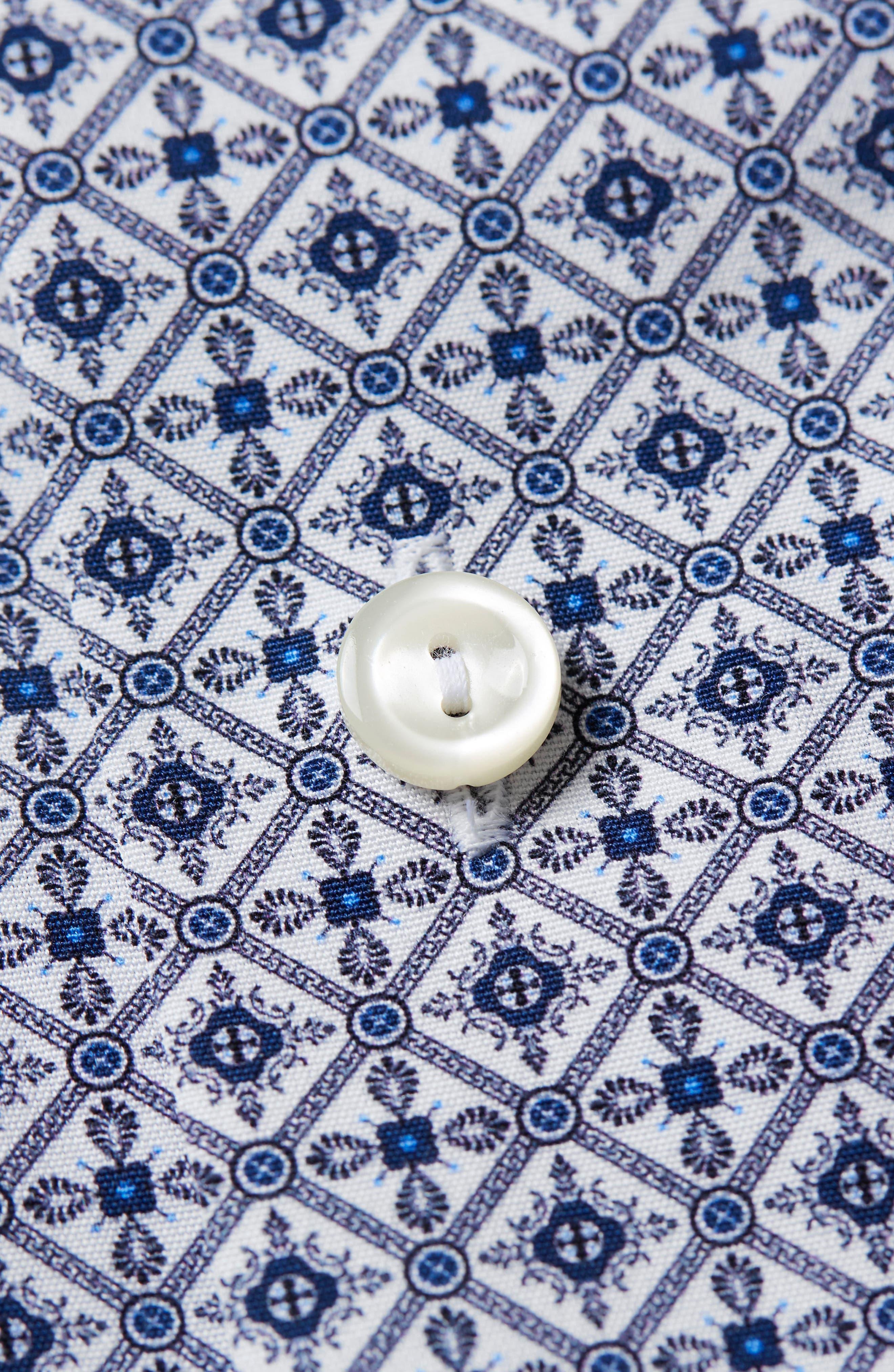 Slim Fit Medallion Print Dress Shirt,                             Alternate thumbnail 6, color,                             Blue