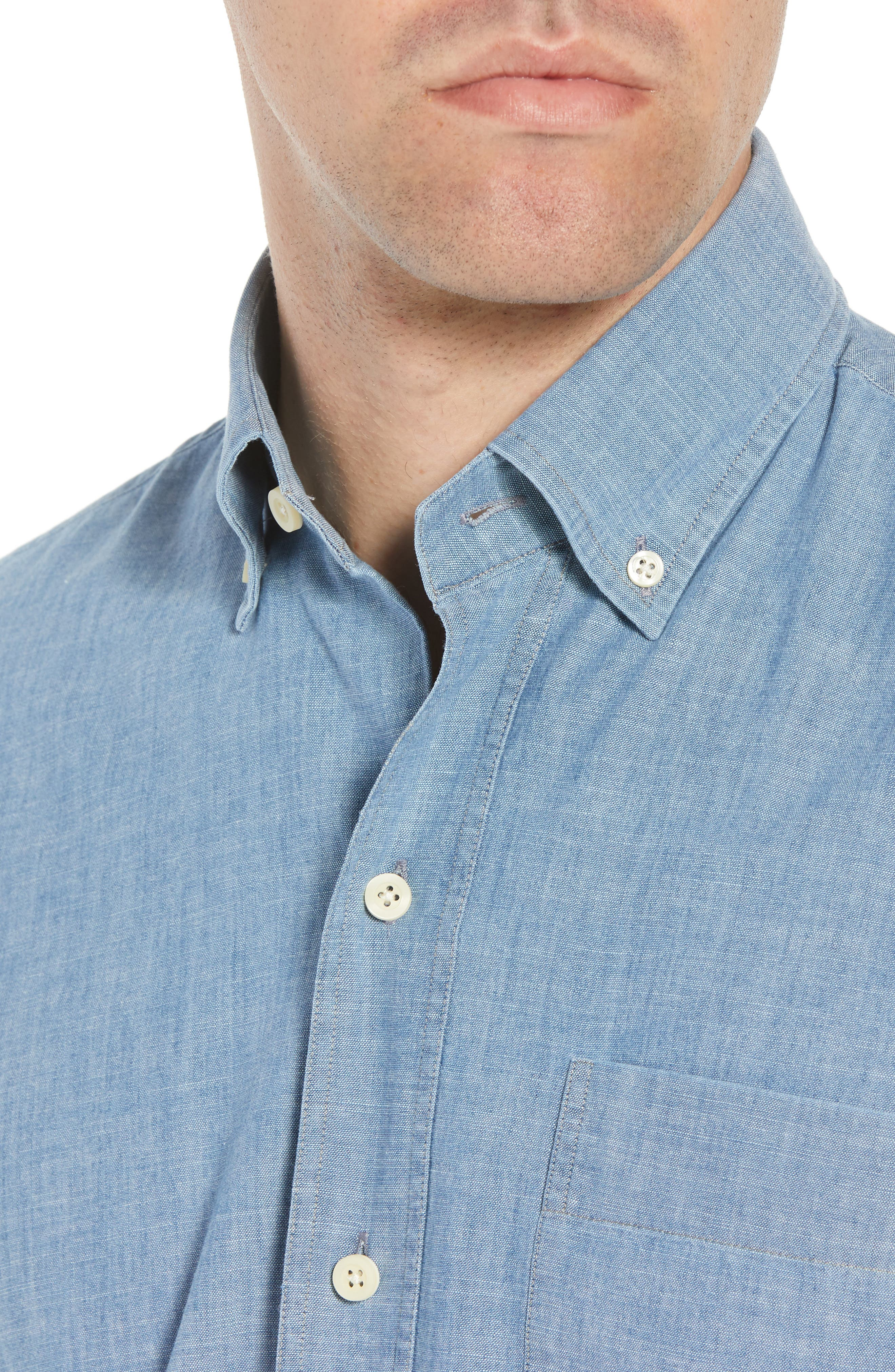 Ancroft Slim Fit Chambray Sport Shirt,                             Alternate thumbnail 4, color,                             Blue