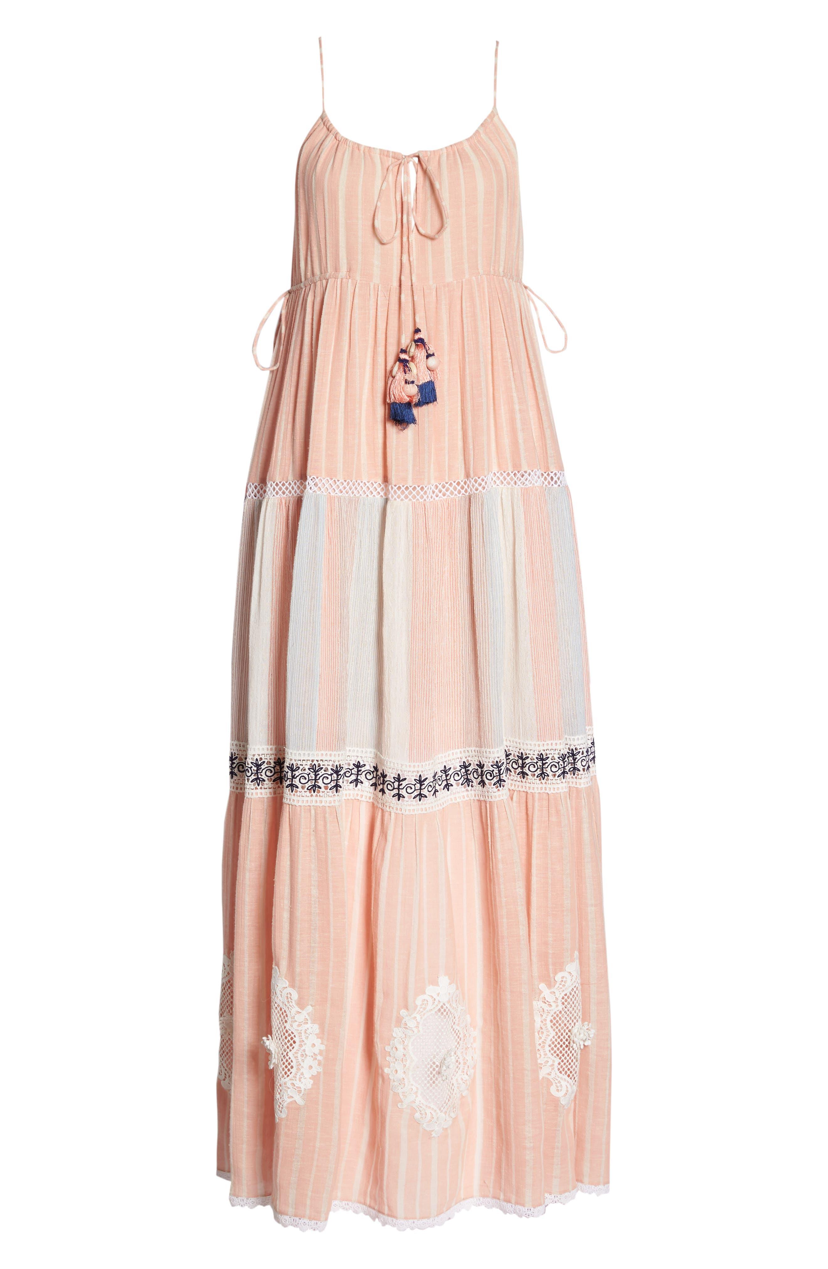 Hemant & Nandita Cover-Up Maxi Dress,                             Alternate thumbnail 6, color,                             Peach
