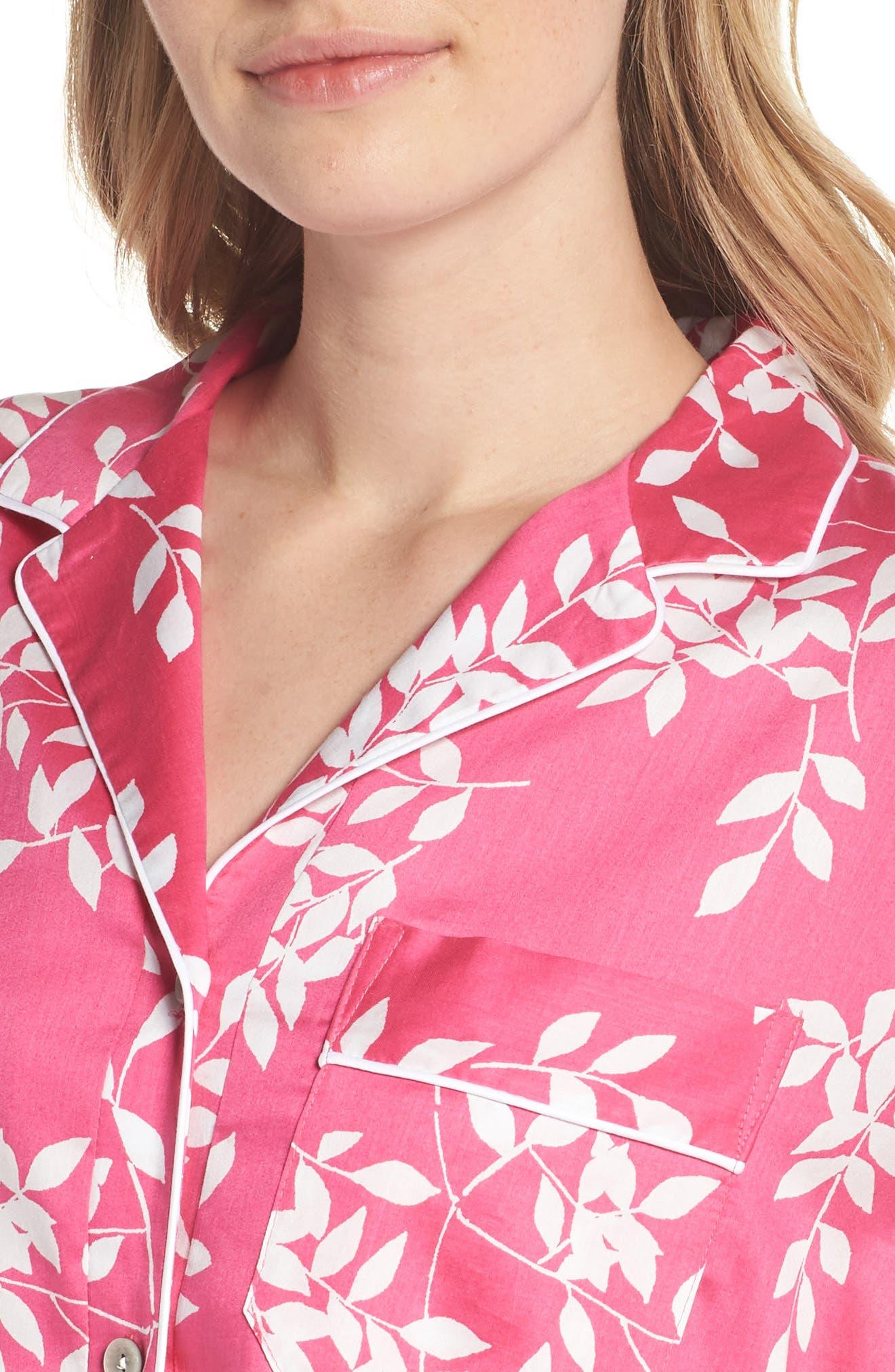 Branch Print Cotton Sateen Sleep Shirt,                             Alternate thumbnail 5, color,                             Hibiscus Pink