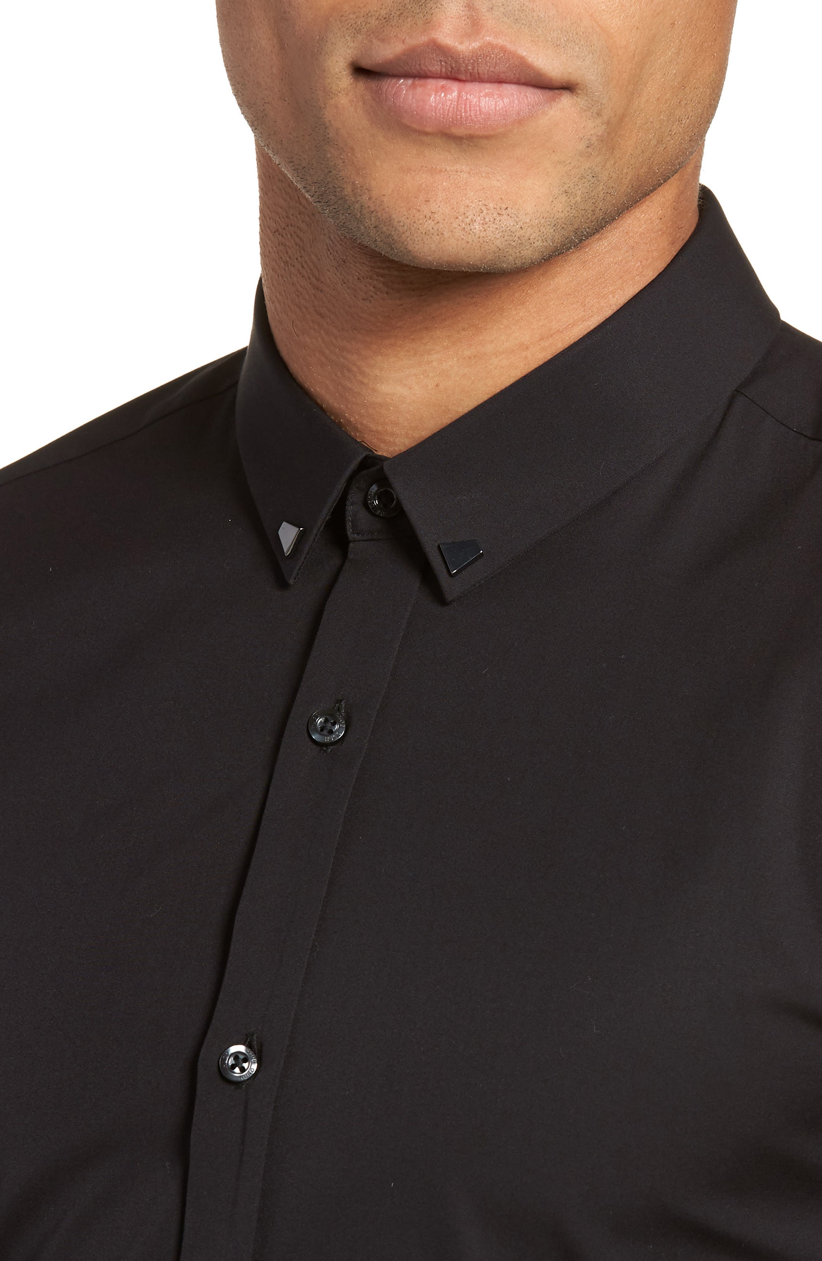 Ero Slim Fit Solid Cotton Sport Shirt,                             Alternate thumbnail 4, color,                             Black