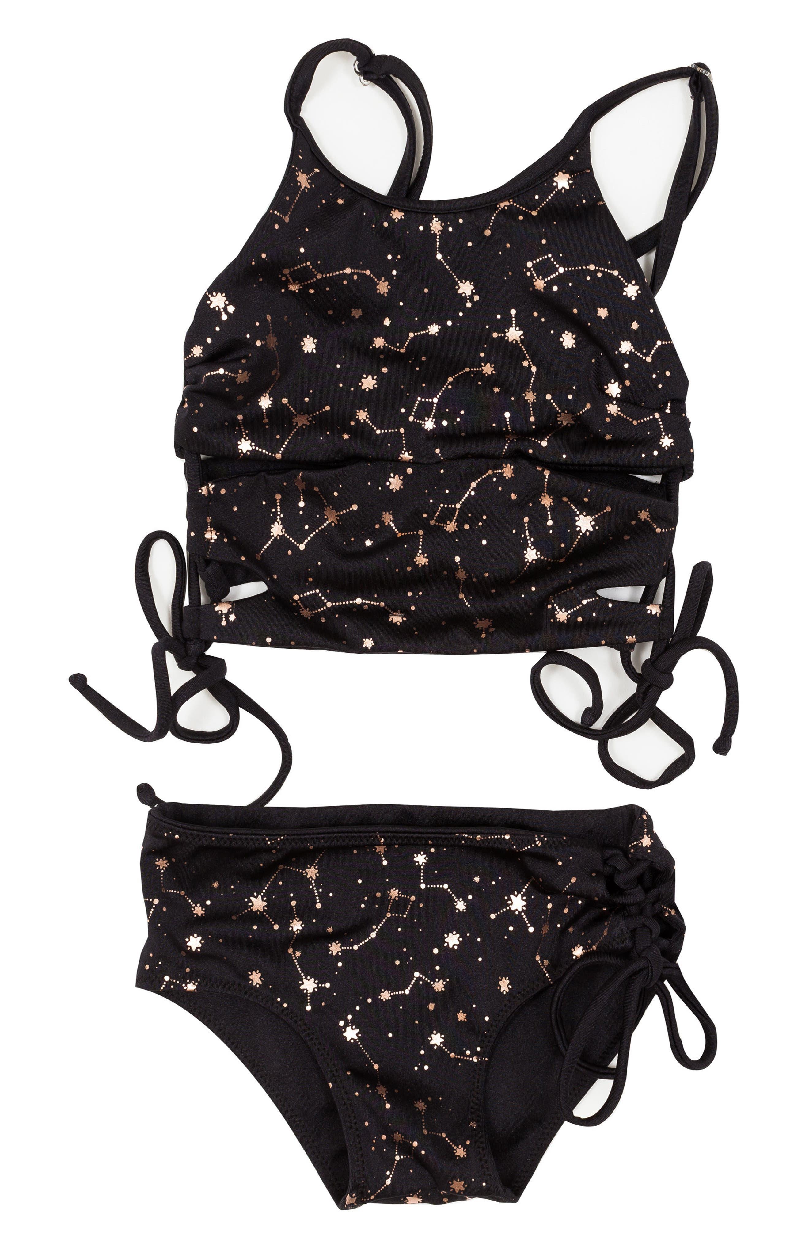 Bowie James Fury Reversible Two-Piece Swimsuit,                         Main,                         color, Black
