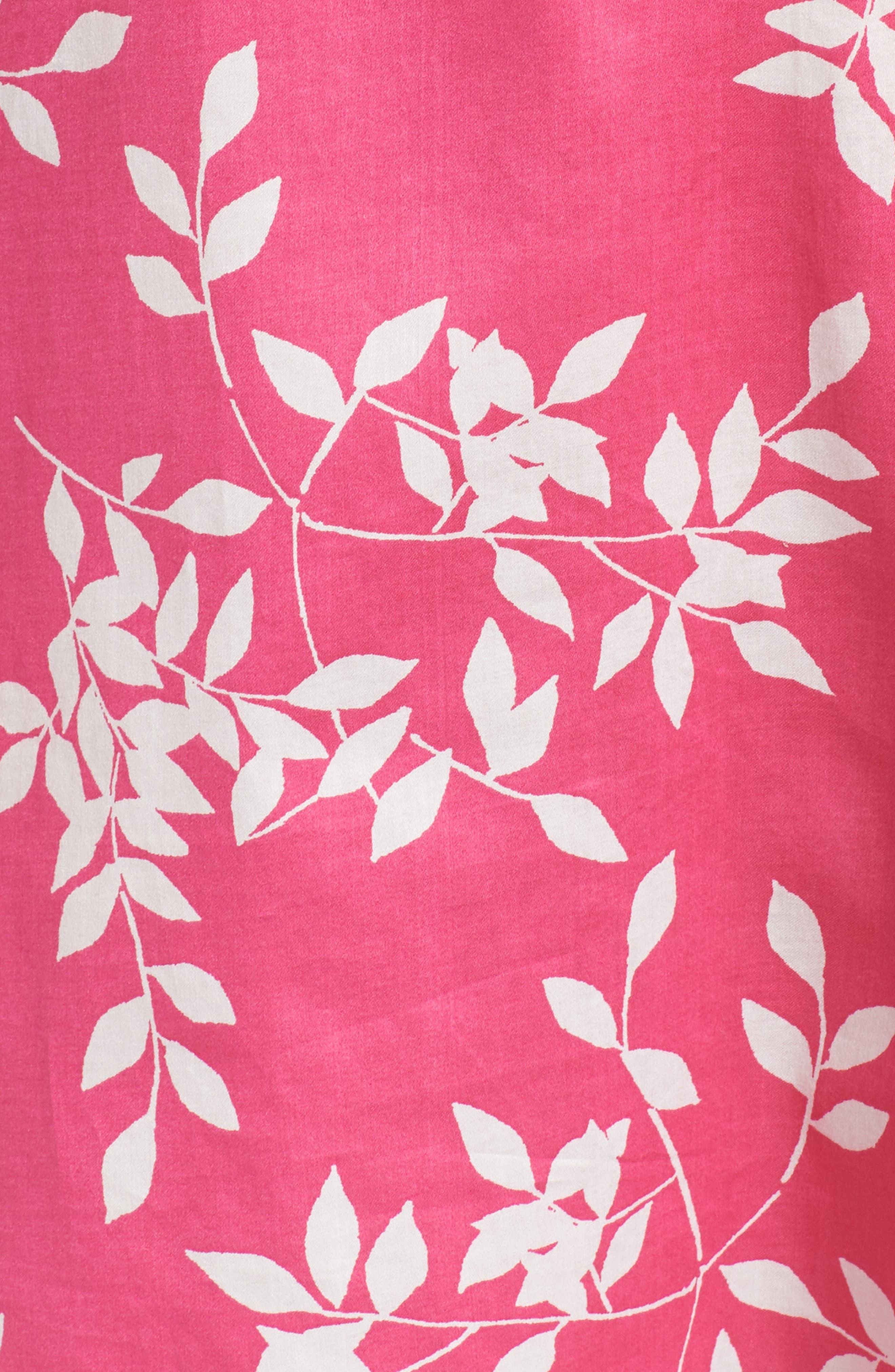 Branch Print Cotton Sateen Sleep Shirt,                             Alternate thumbnail 6, color,                             Hibiscus Pink