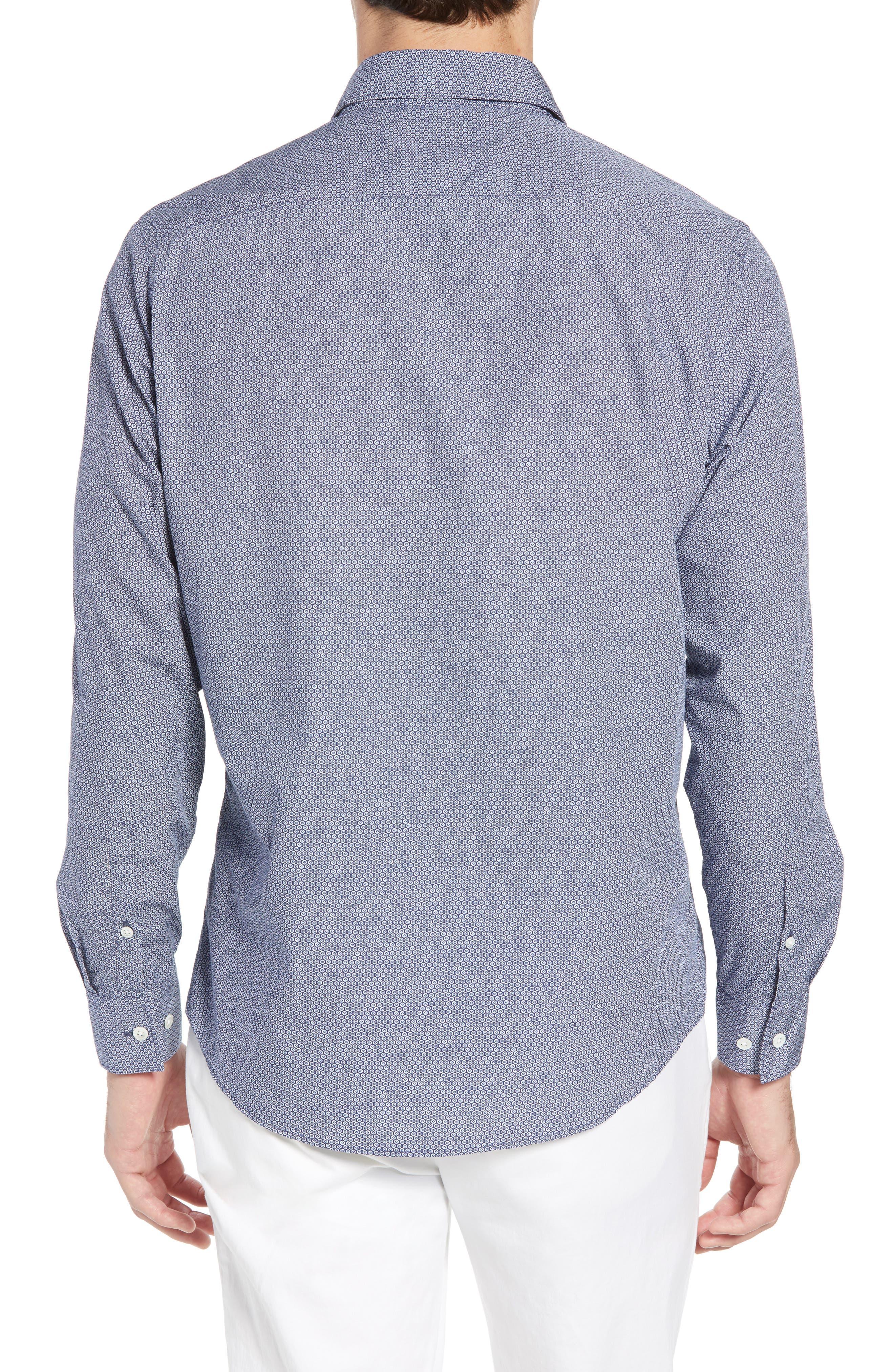 Beacon Point Regular Fit Sport Shirt,                             Alternate thumbnail 3, color,                             Navy