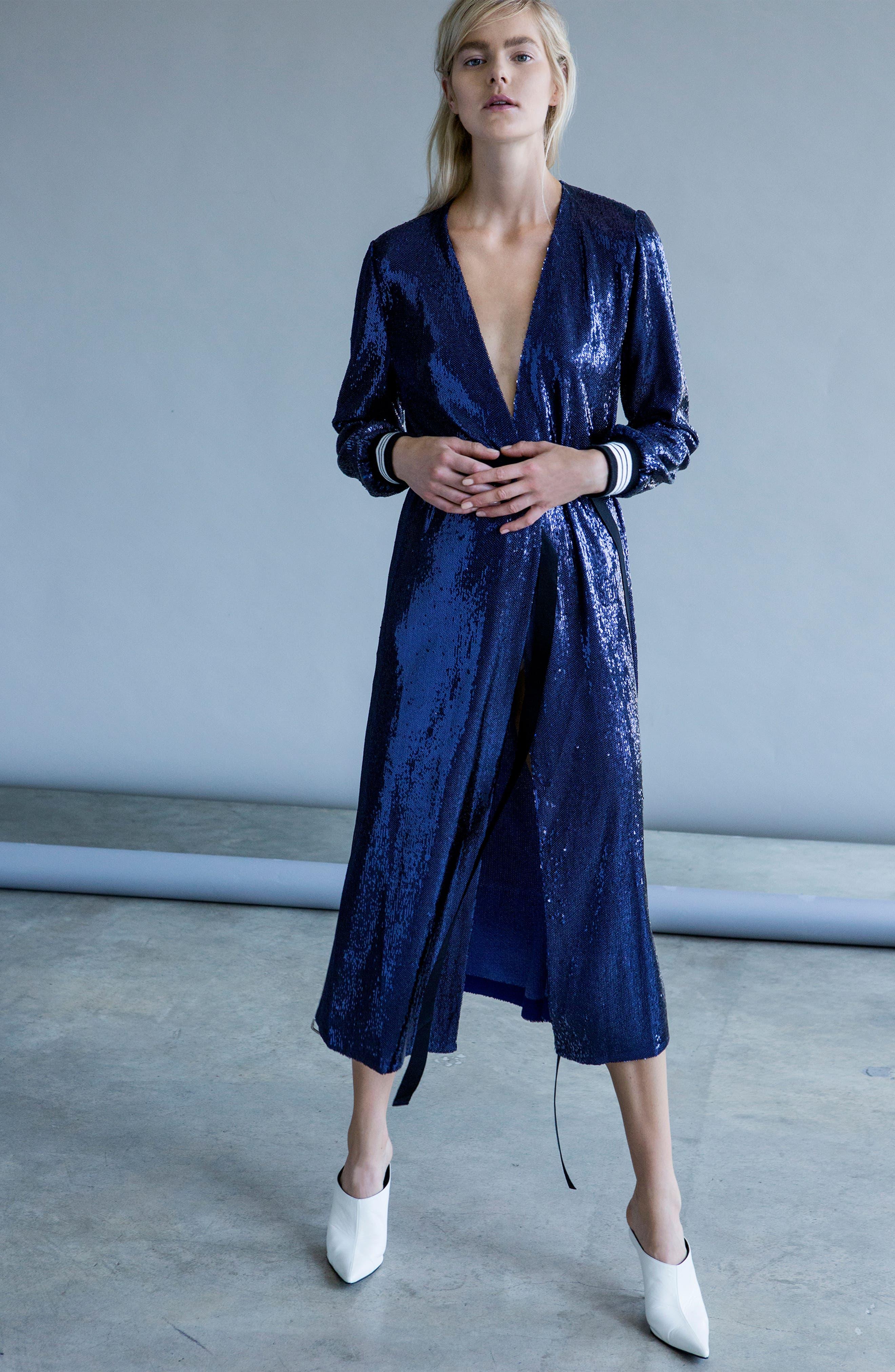 Sequin Wrap Dress,                             Alternate thumbnail 2, color,                             Blue