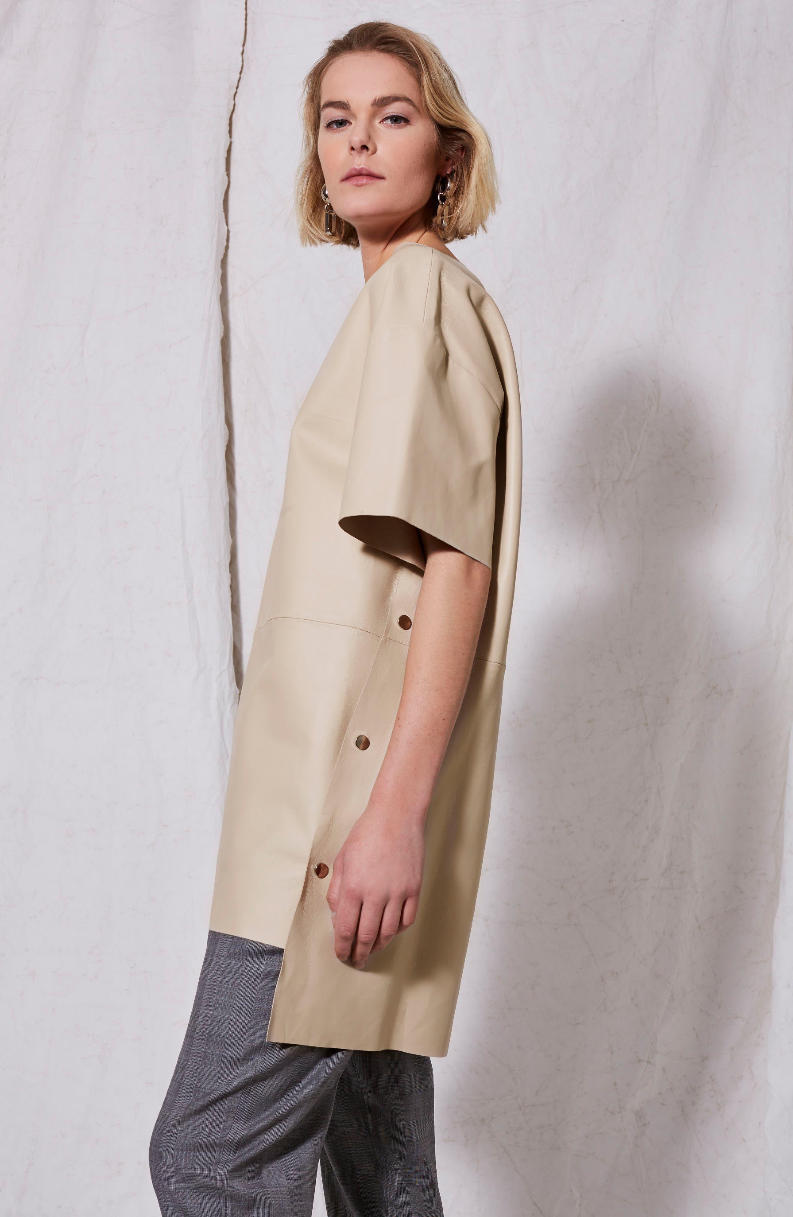 Leather V-Neck Dress,                             Alternate thumbnail 4, color,