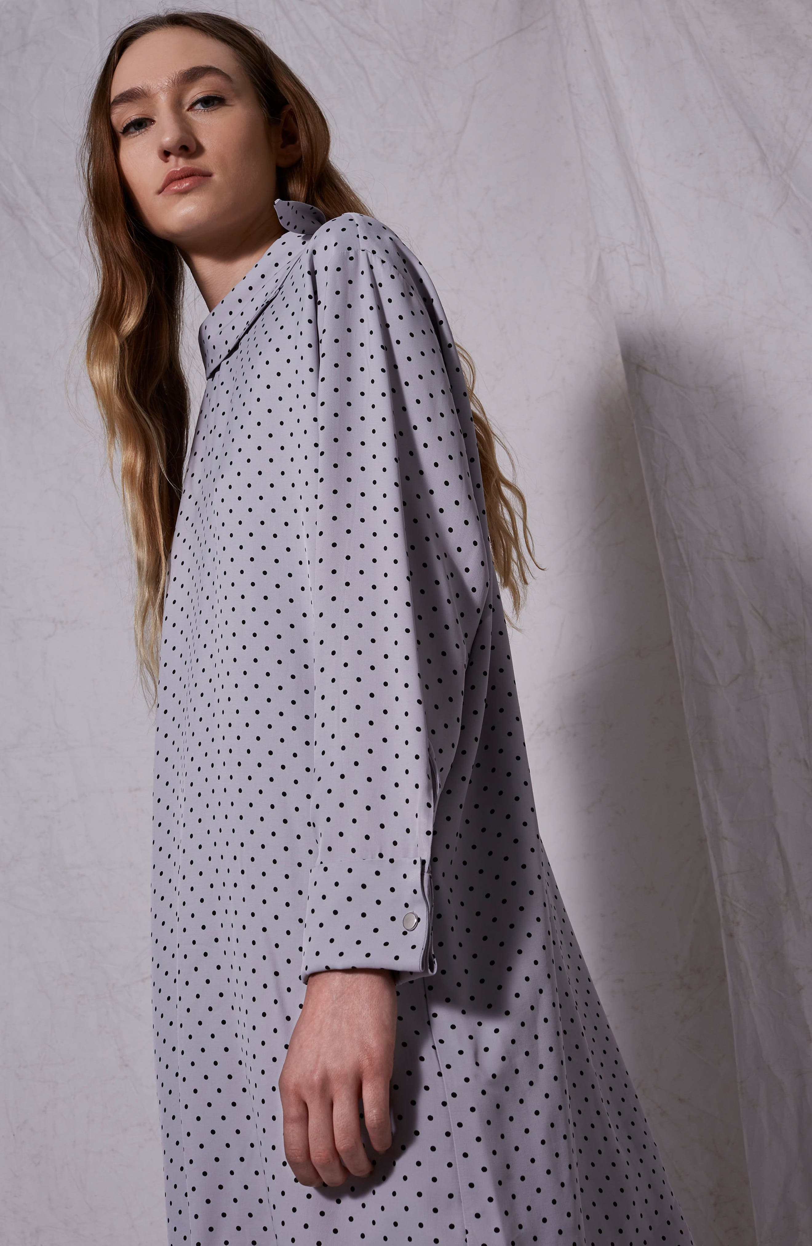 Alternate Image 6  - Topshop Boutique Fold Neck Spot Shift Dress