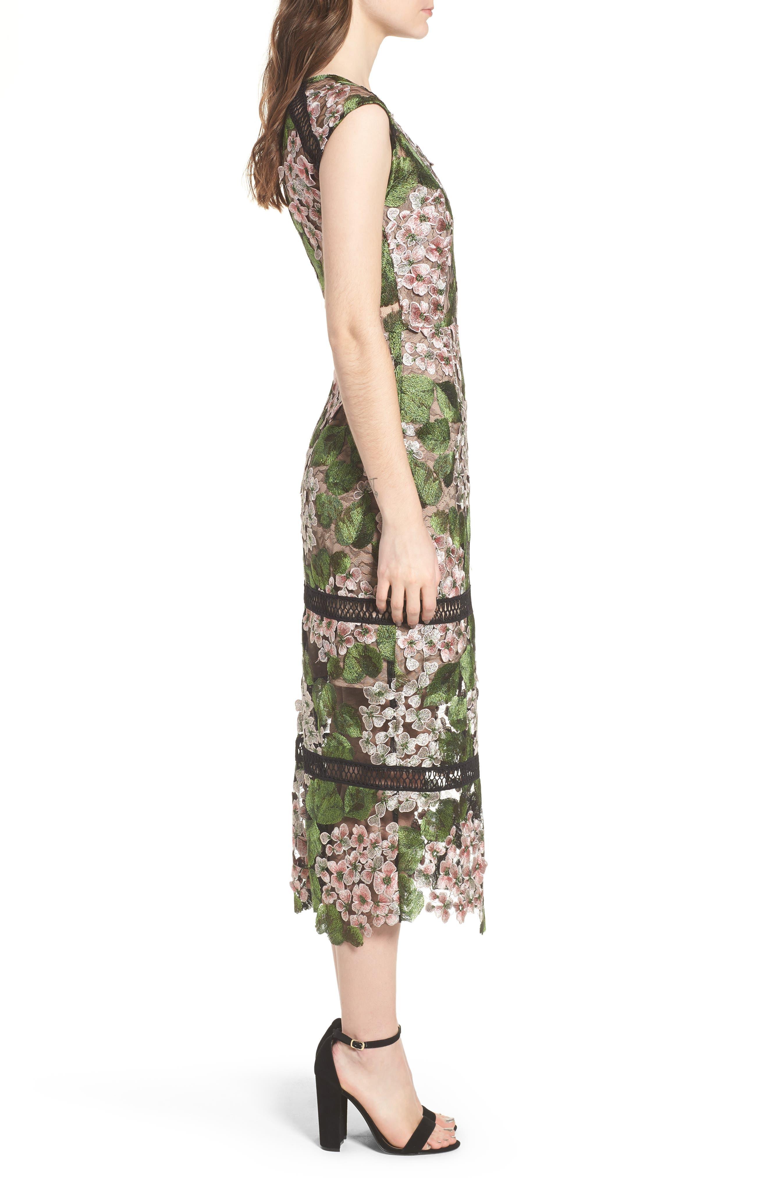 Cherry Hydrangea Lace Dress,                             Alternate thumbnail 3, color,                             Multicolor Pink
