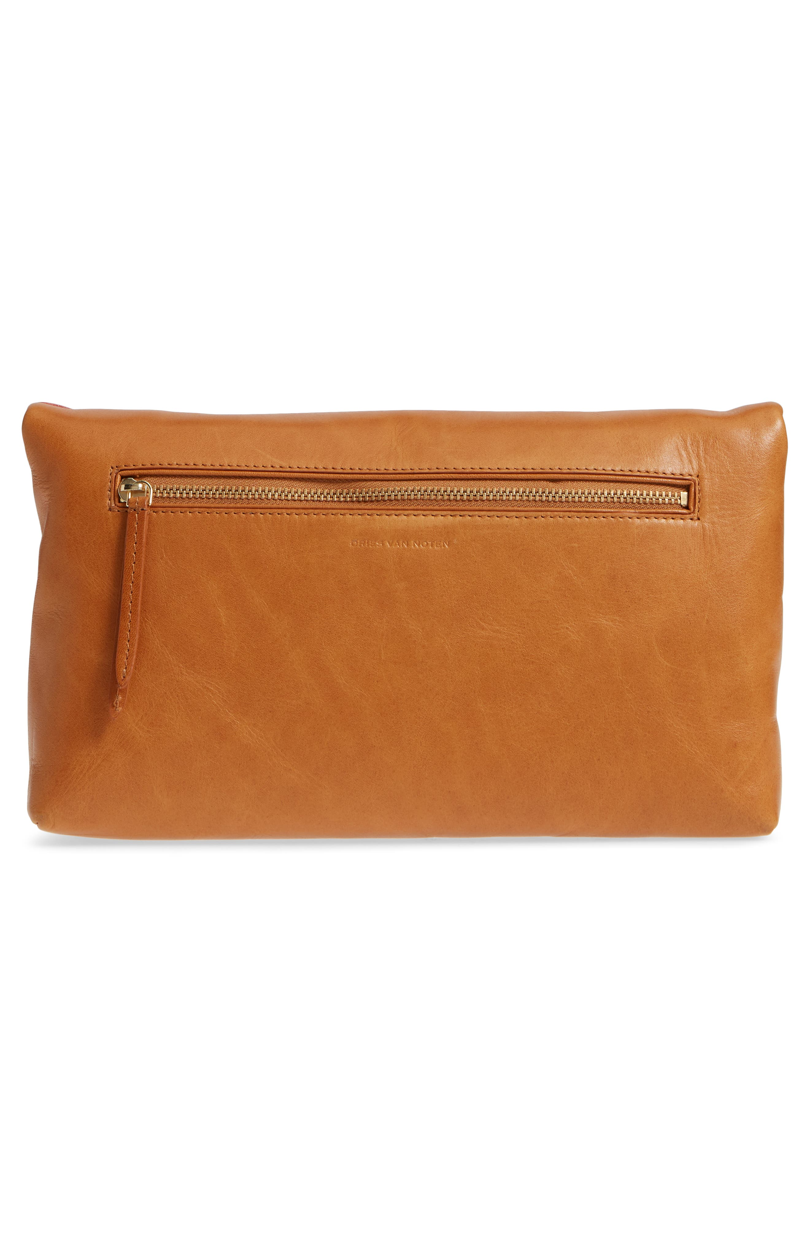 Leather Envelope Clutch,                             Alternate thumbnail 3, color,                             Camel