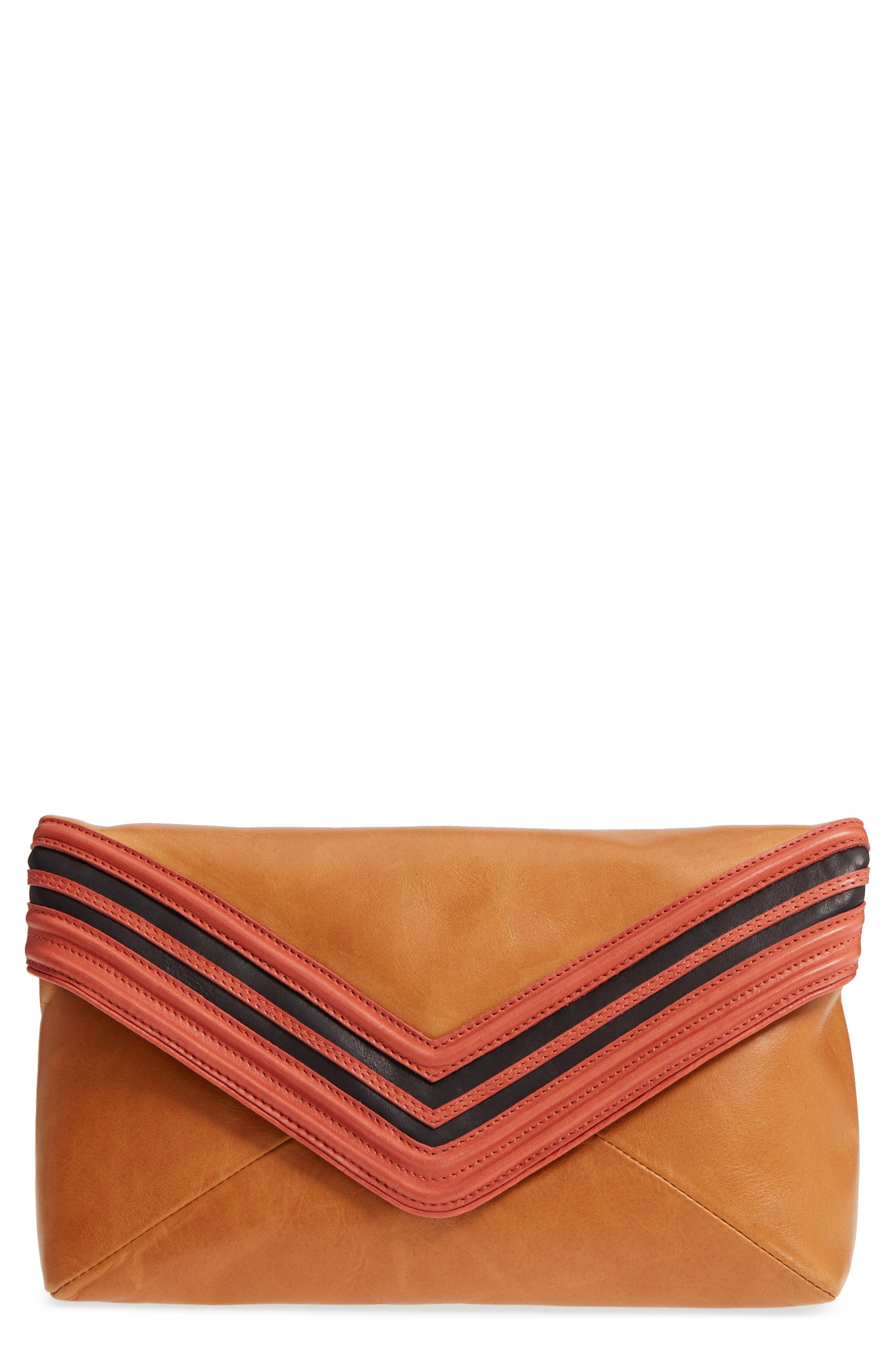 Leather Envelope Clutch,                             Main thumbnail 1, color,                             Camel