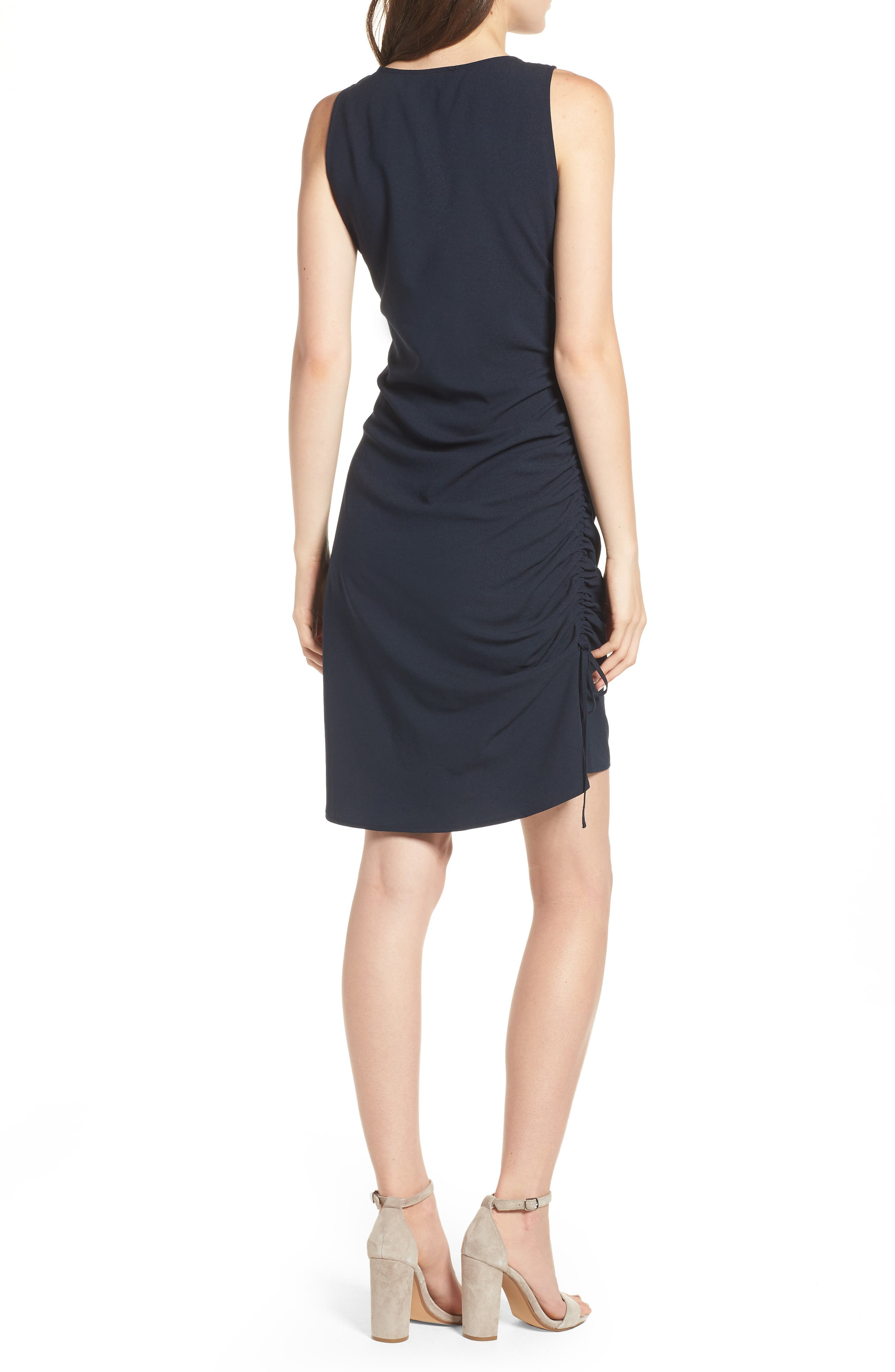 Side Shirred Tank Dress,                             Alternate thumbnail 2, color,                             Navy Sapphire