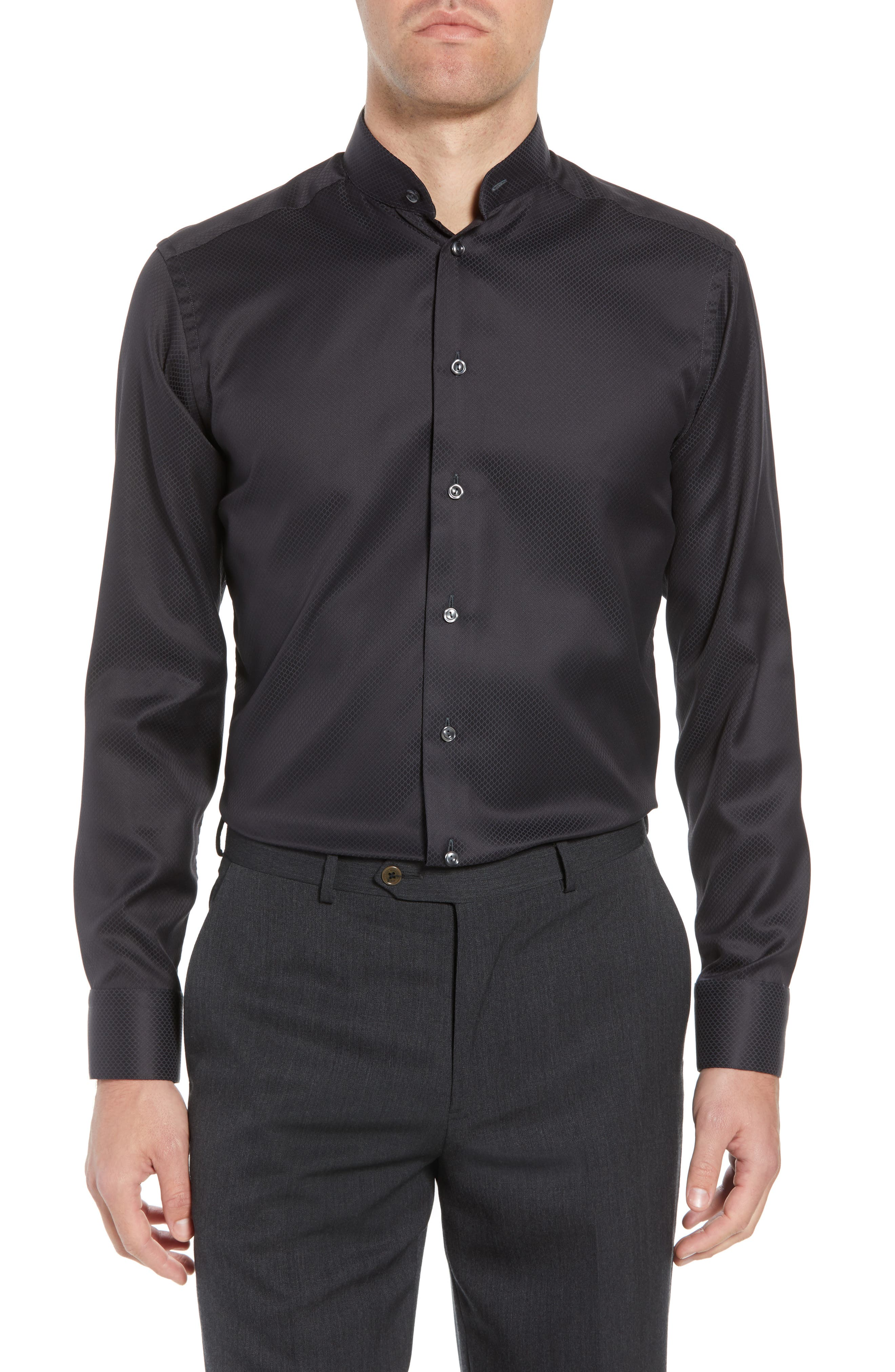 Slim Fit Solid Dress Shirt,                         Main,                         color, Black