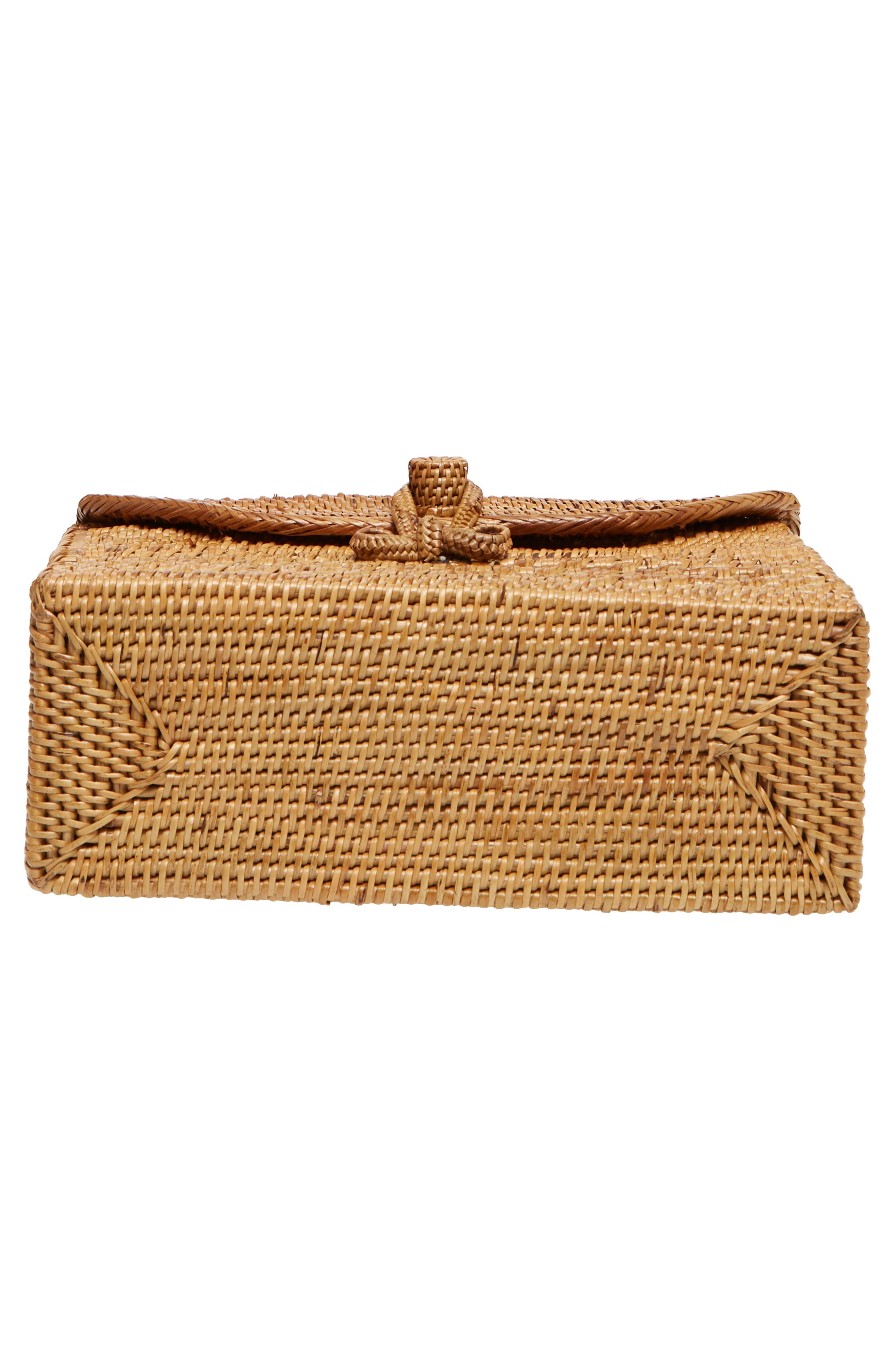 Woven Rattan Box Crossbody Bag,                             Alternate thumbnail 6, color,                             Tan