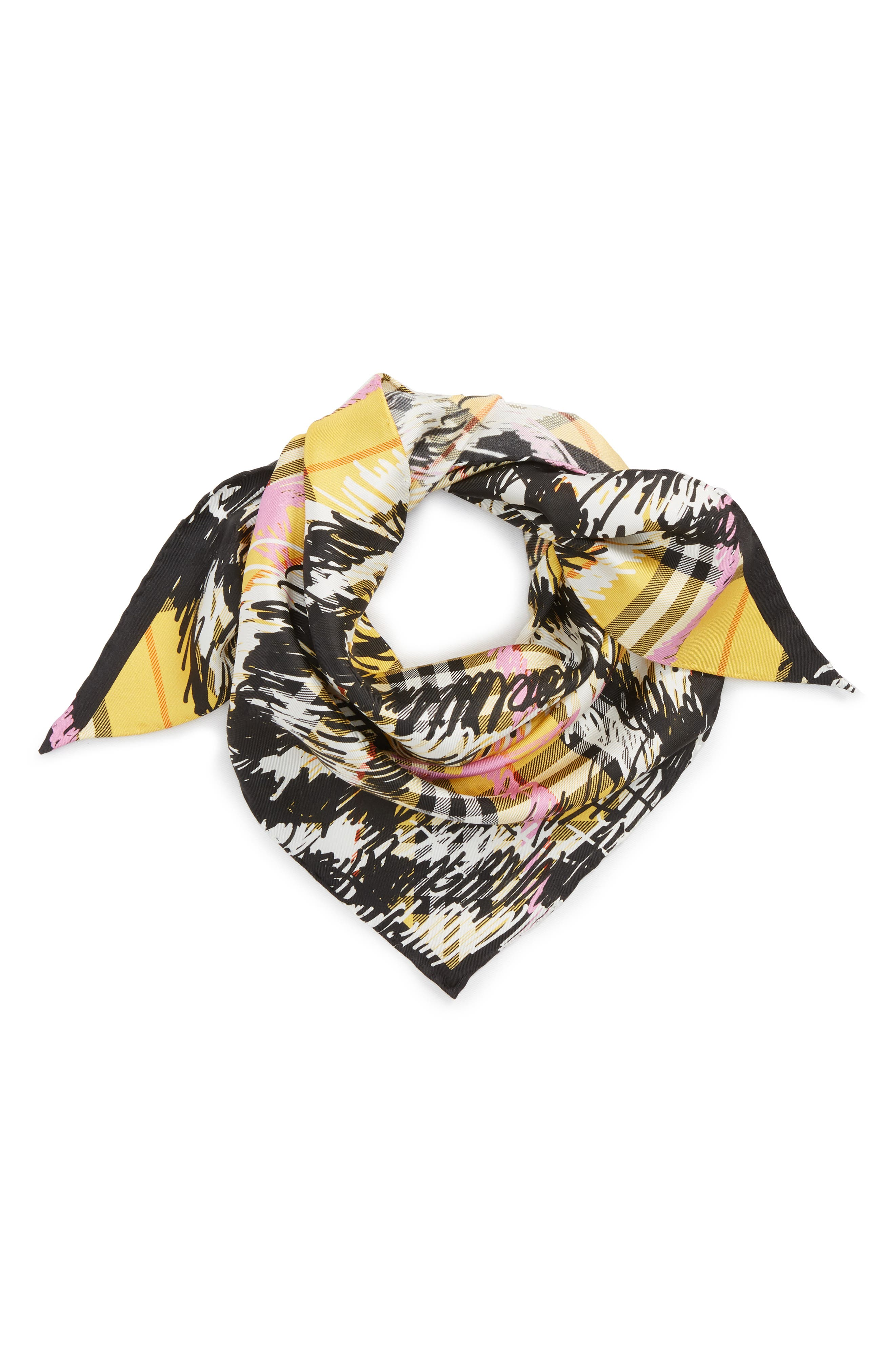 Scribble Vintage Check Silk Scarf,                             Alternate thumbnail 2, color,                             Bright Yellow