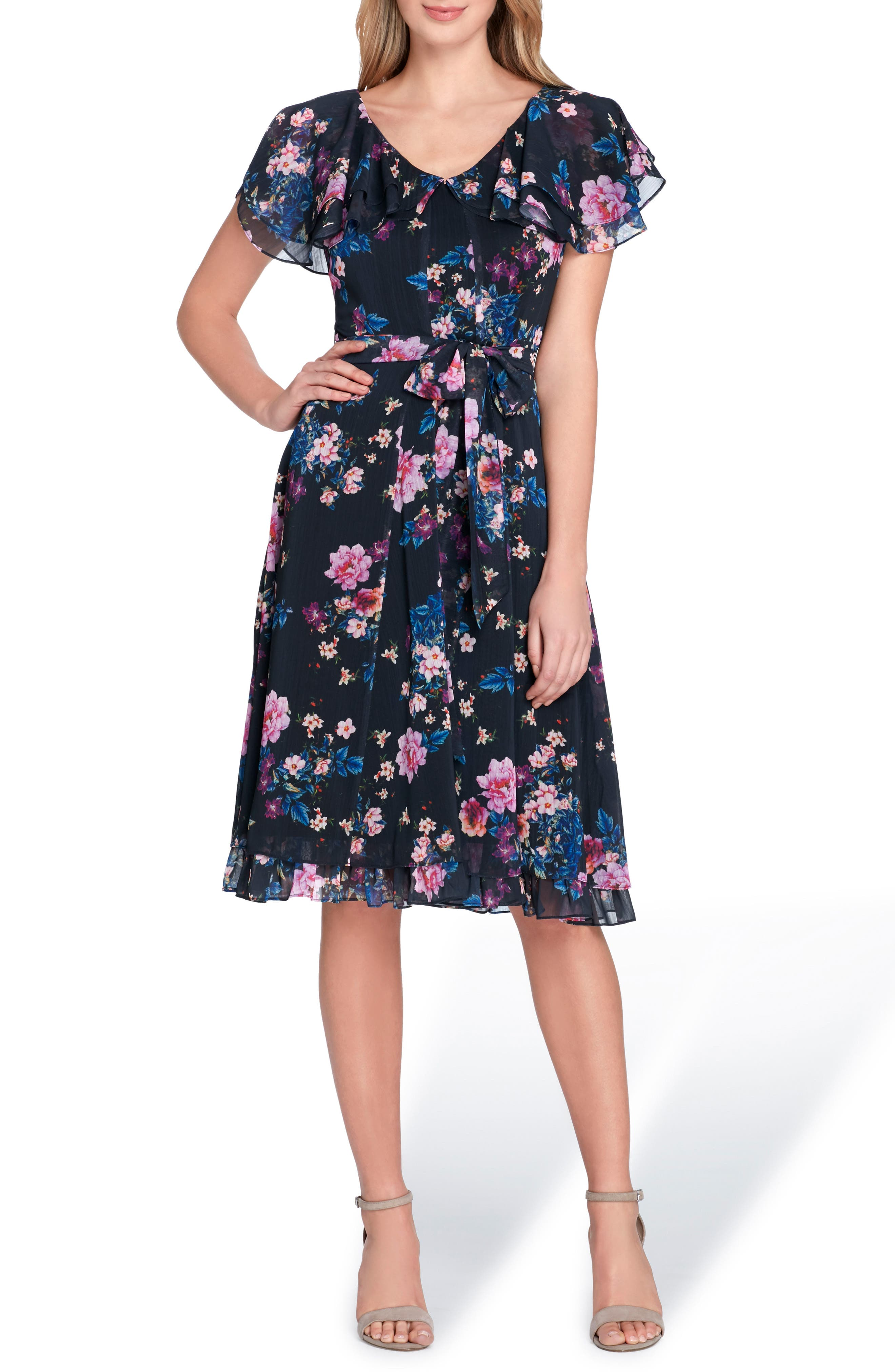 Flutter Sleeve Floral Print Fit & Flare Dress,                             Main thumbnail 1, color,                             Navy/ Fuchsia/ Royal