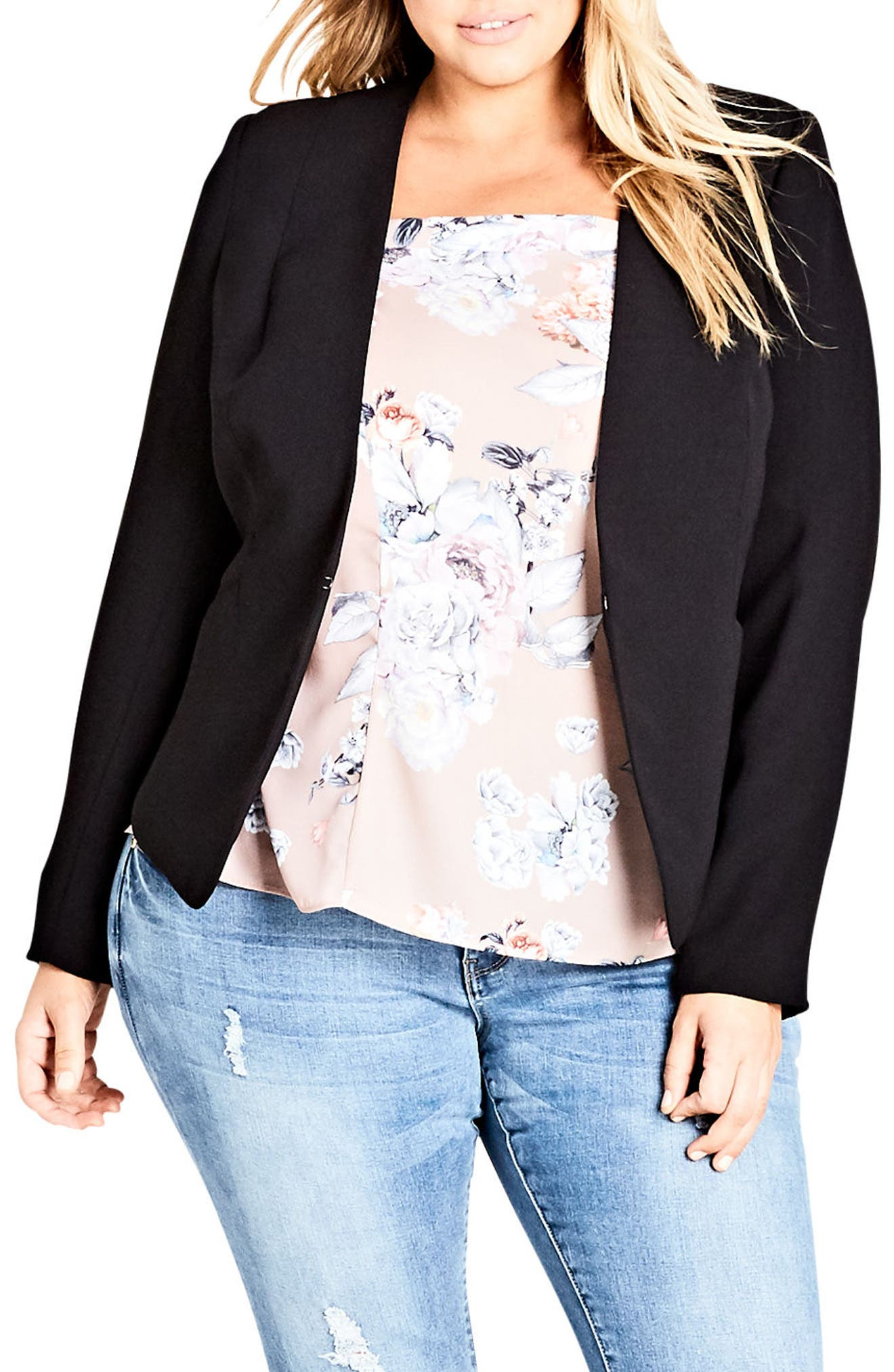 City Chic Pirouette Collarless Jacket (Plus Size)