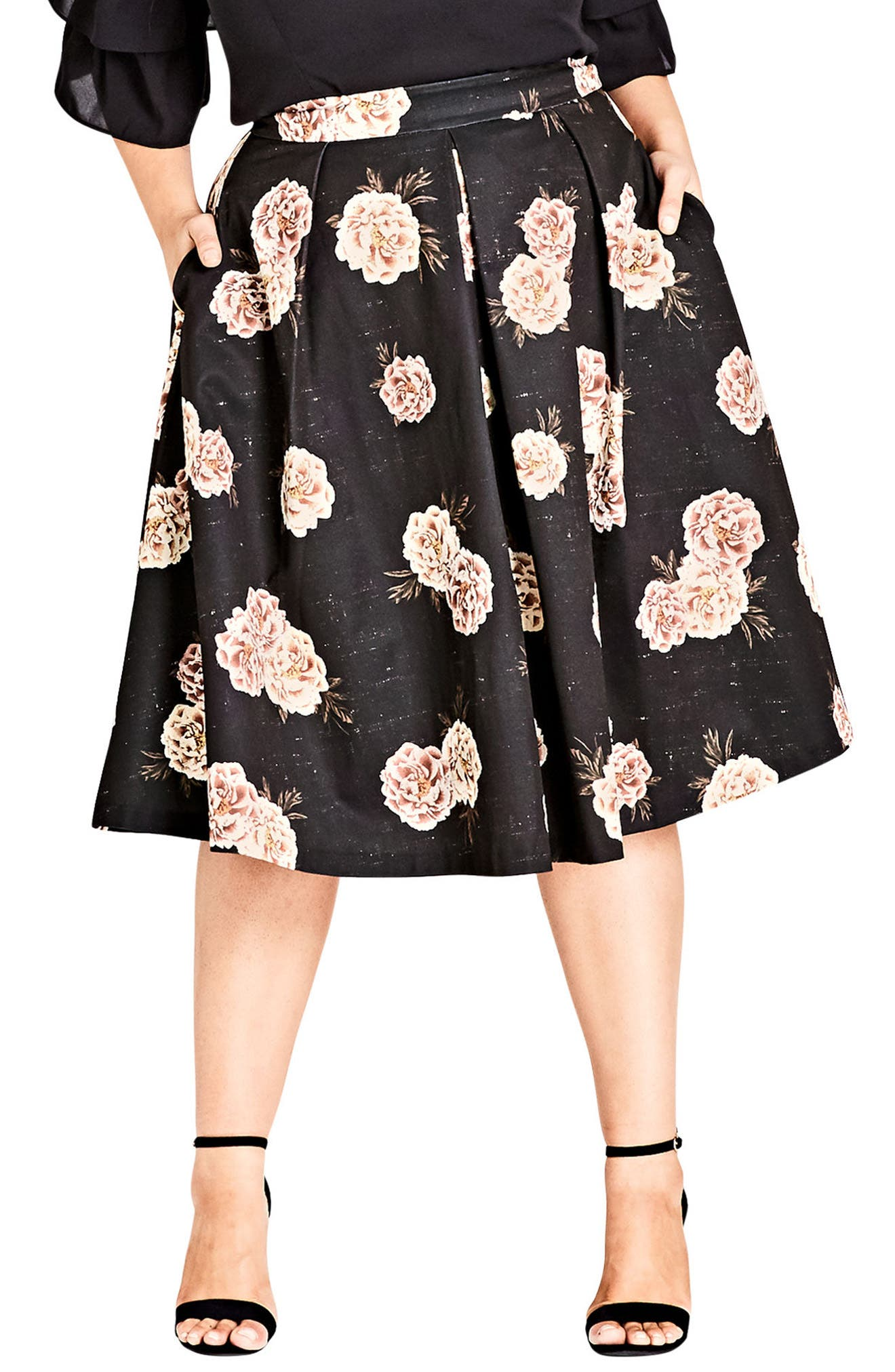 Alternate Image 1 Selected - City Chic Rose Print A-Line Skirt (Plus Size)